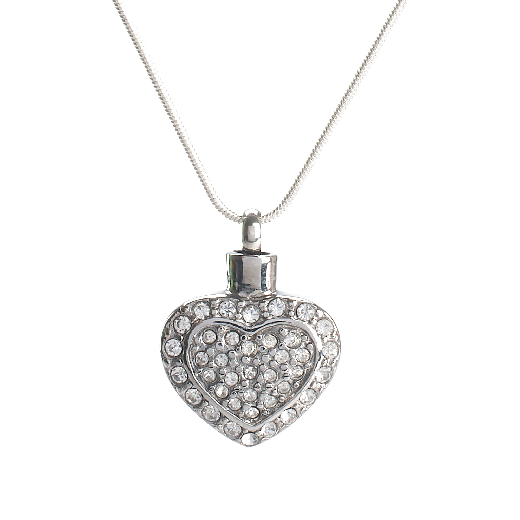 Cremation Pendant - Silver Heart with Diamante Detail