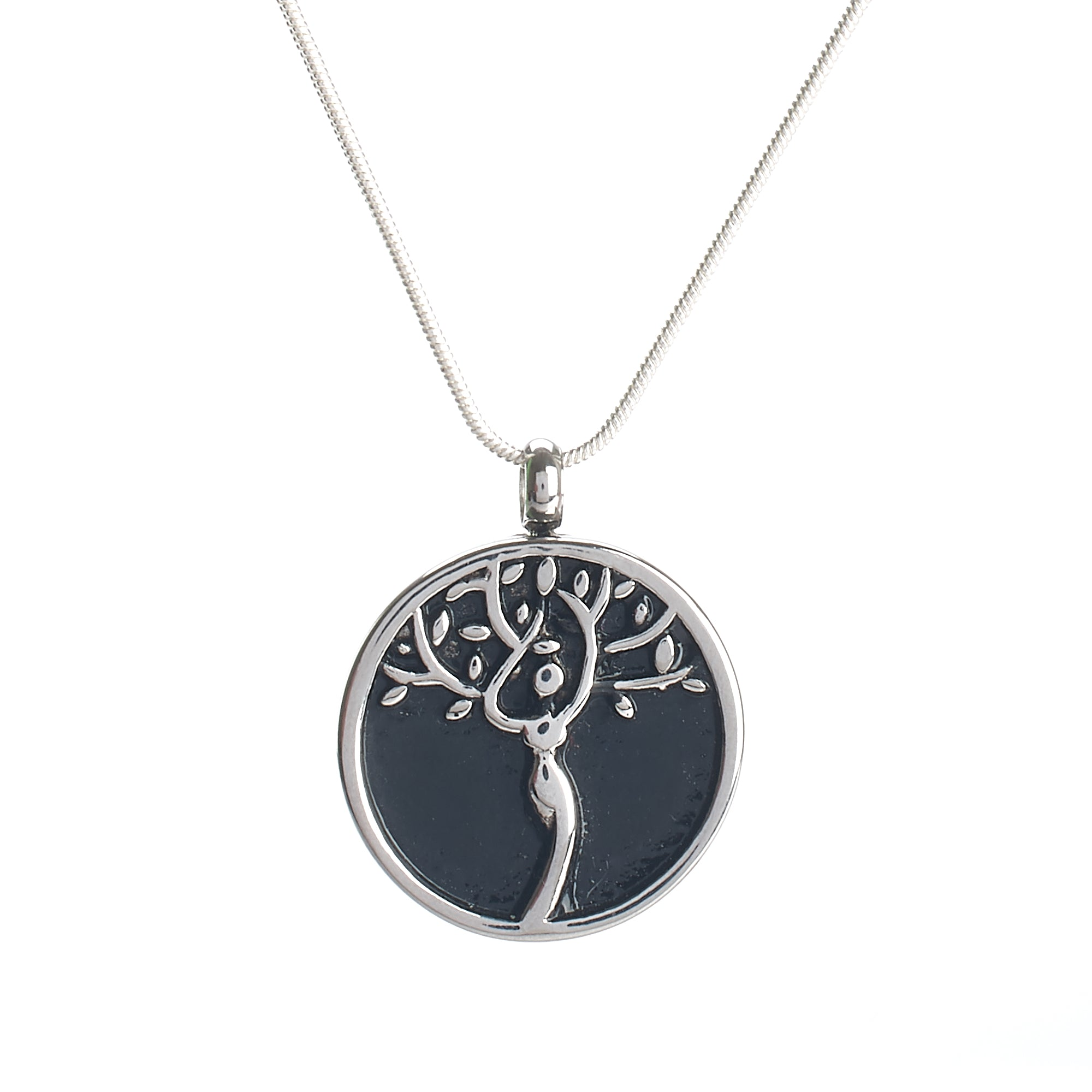 Cremation Pendant - Mother Earth Silver on Round Black