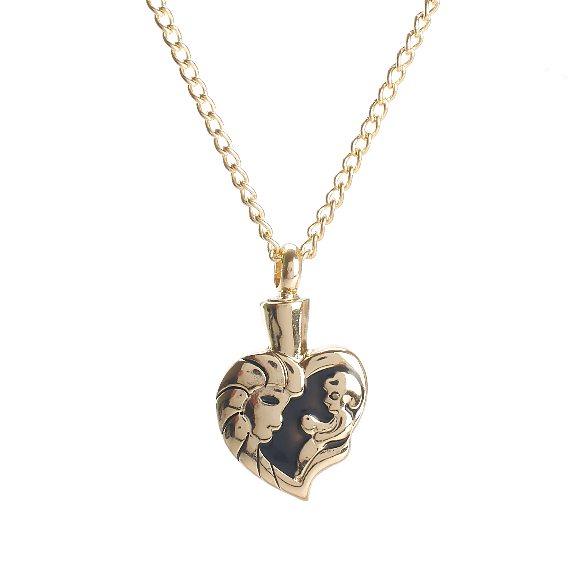 Cremation Pendant - Emotive - Gold Heart Parent and Baby/Infant
