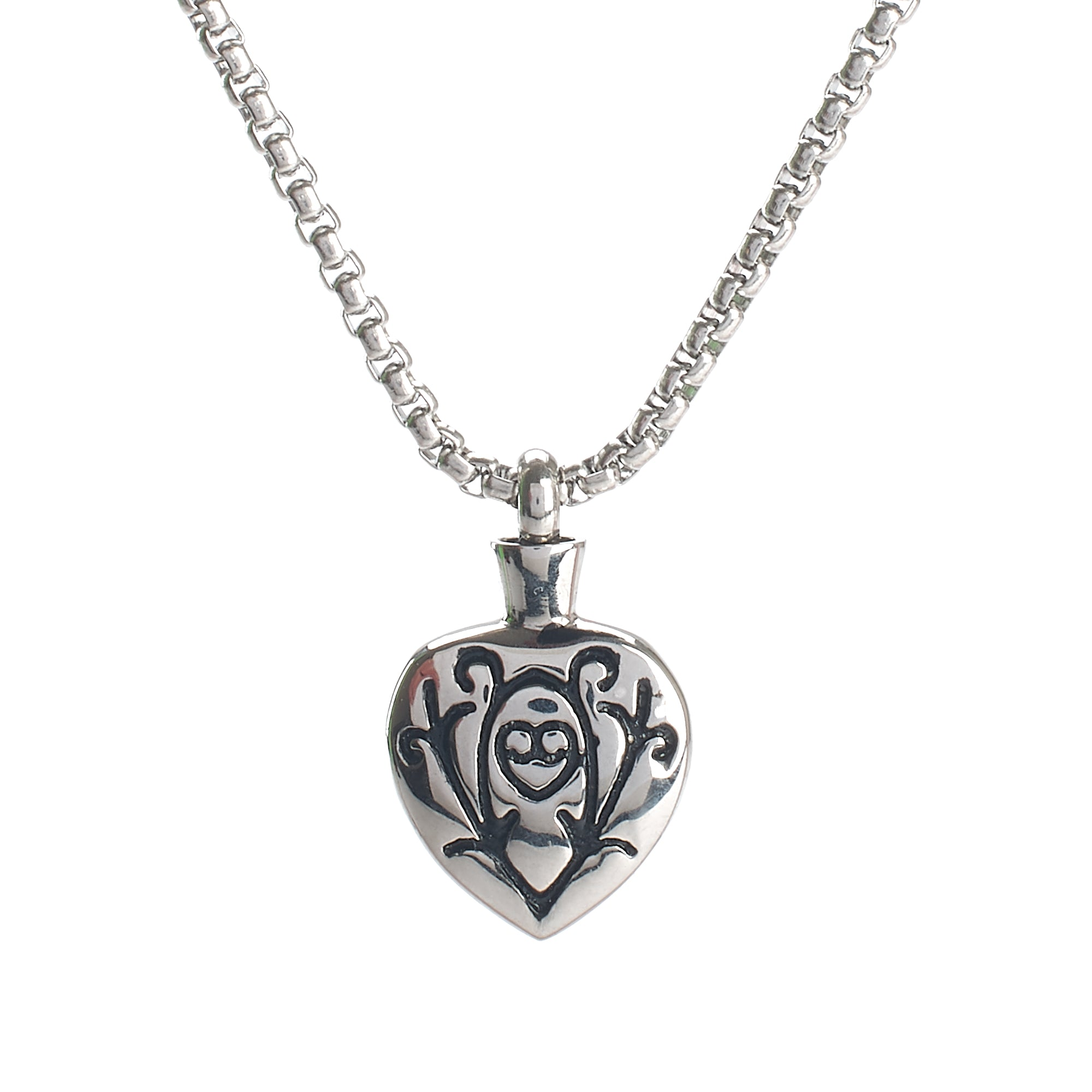 Cremation Pendant - Silver Celtic Heart Black Filigree