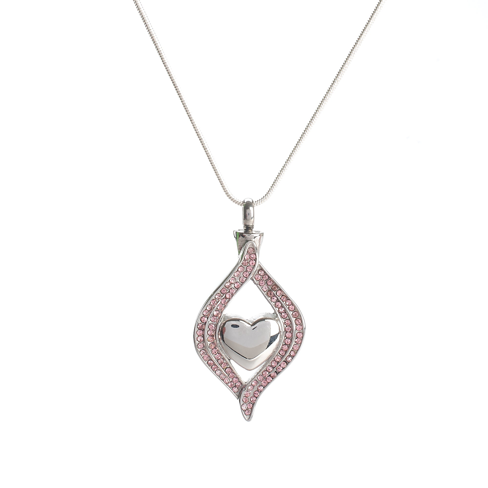 Cremation Pendant - Silver Heart in Pink Diamante Tear