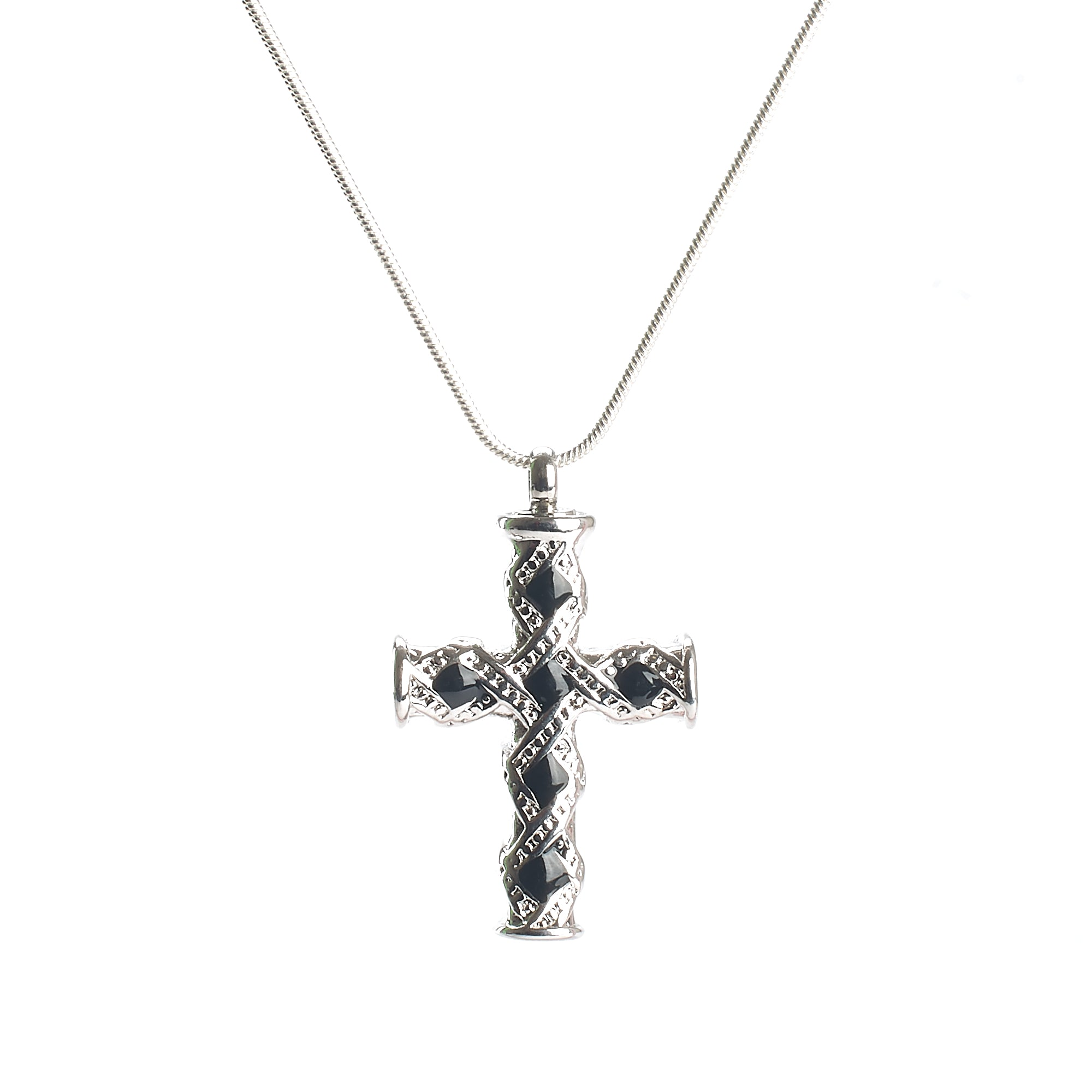 Cremation Pendant - Celtic Inspired Silver Cross Black Stones