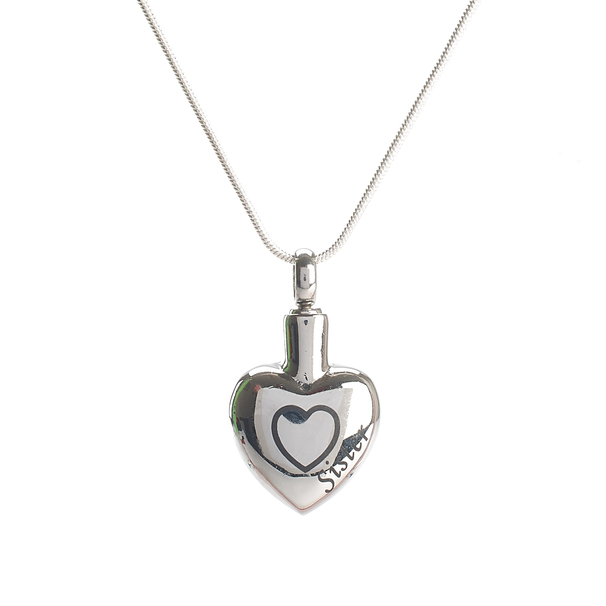 Cremation Pendant - Family - Silver Heart - Sister