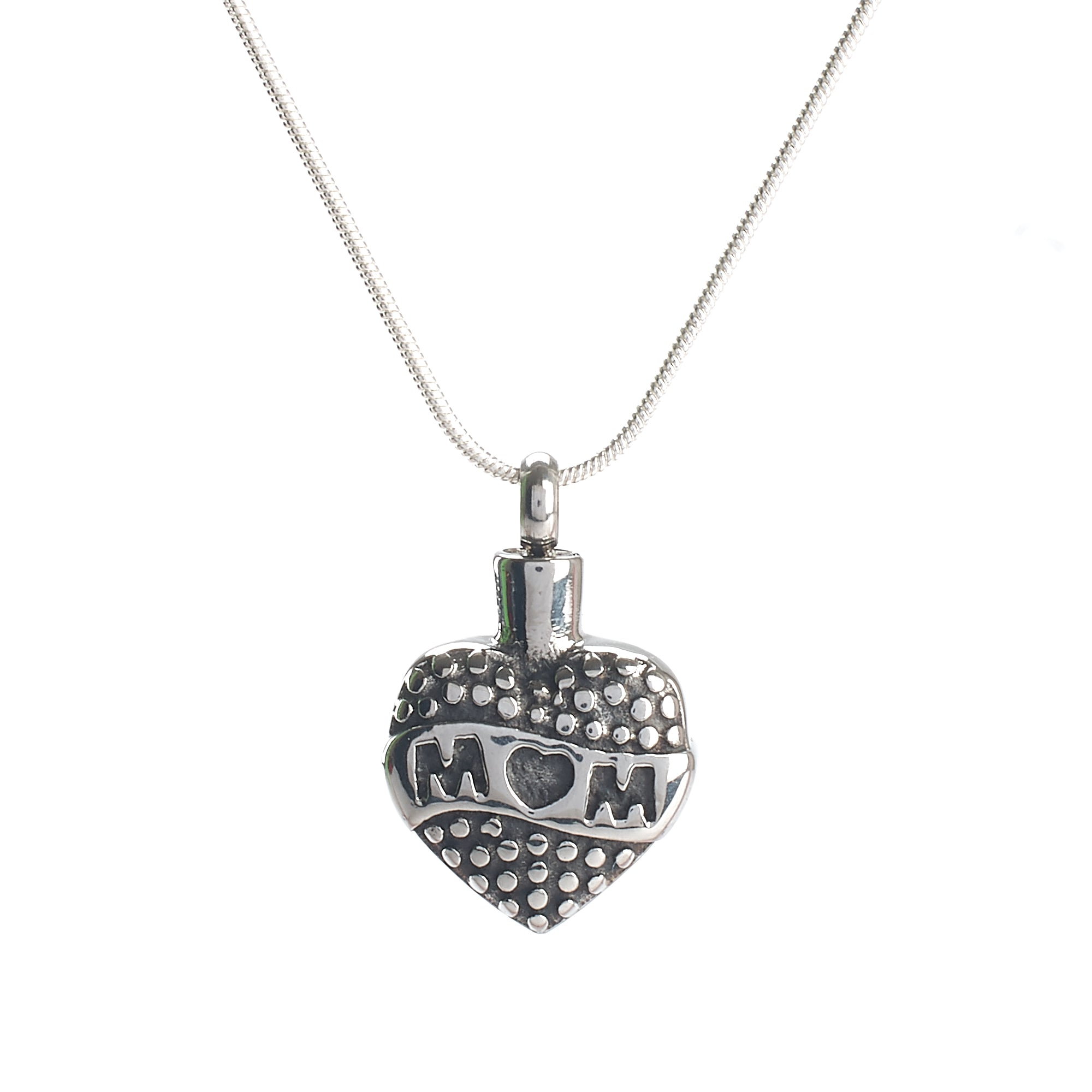 Cremation Pendant - Family - Retro Mum Heart Silver