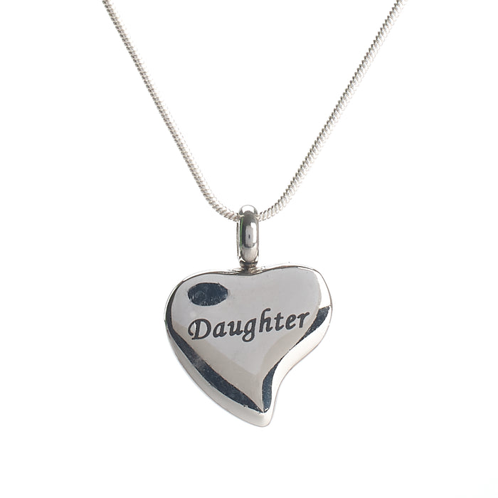 Cremation Pendant - Family - Silver Heart - Daughter