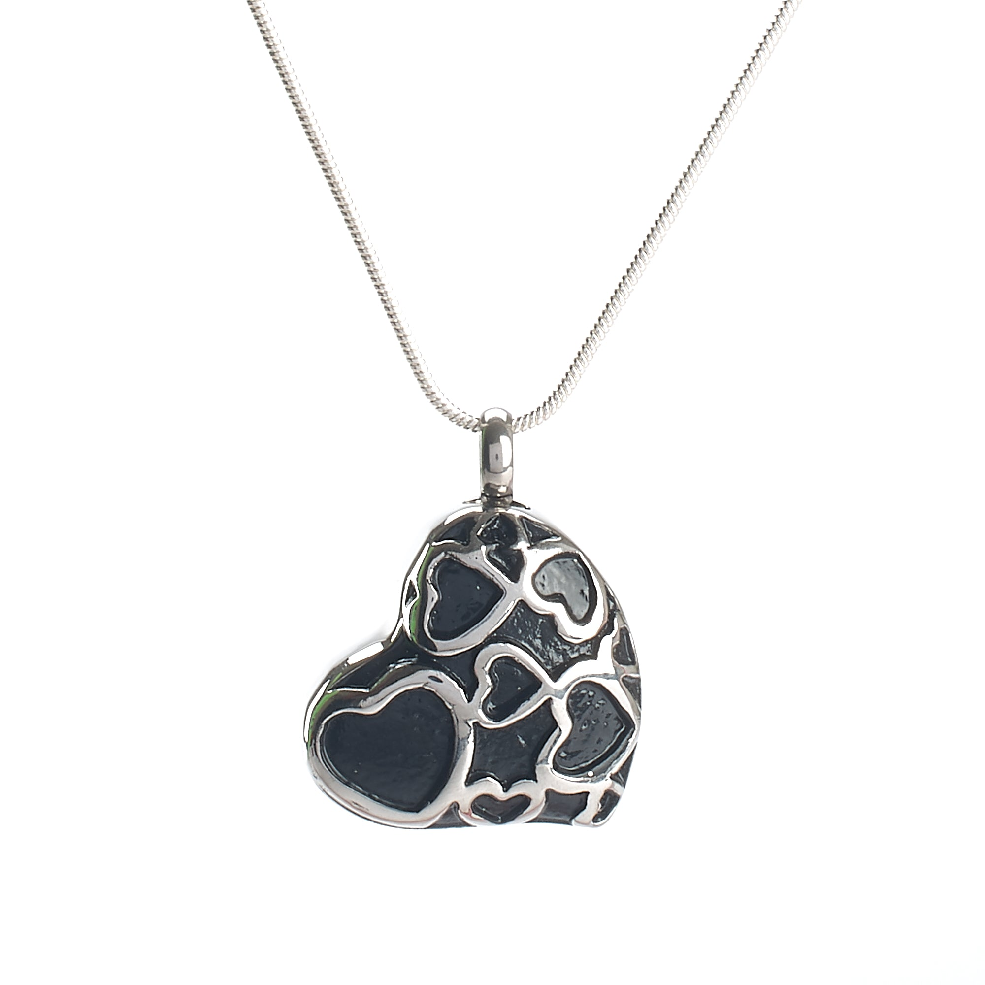 Cremation Pendant - Large Silver/Black Hearts within Heart
