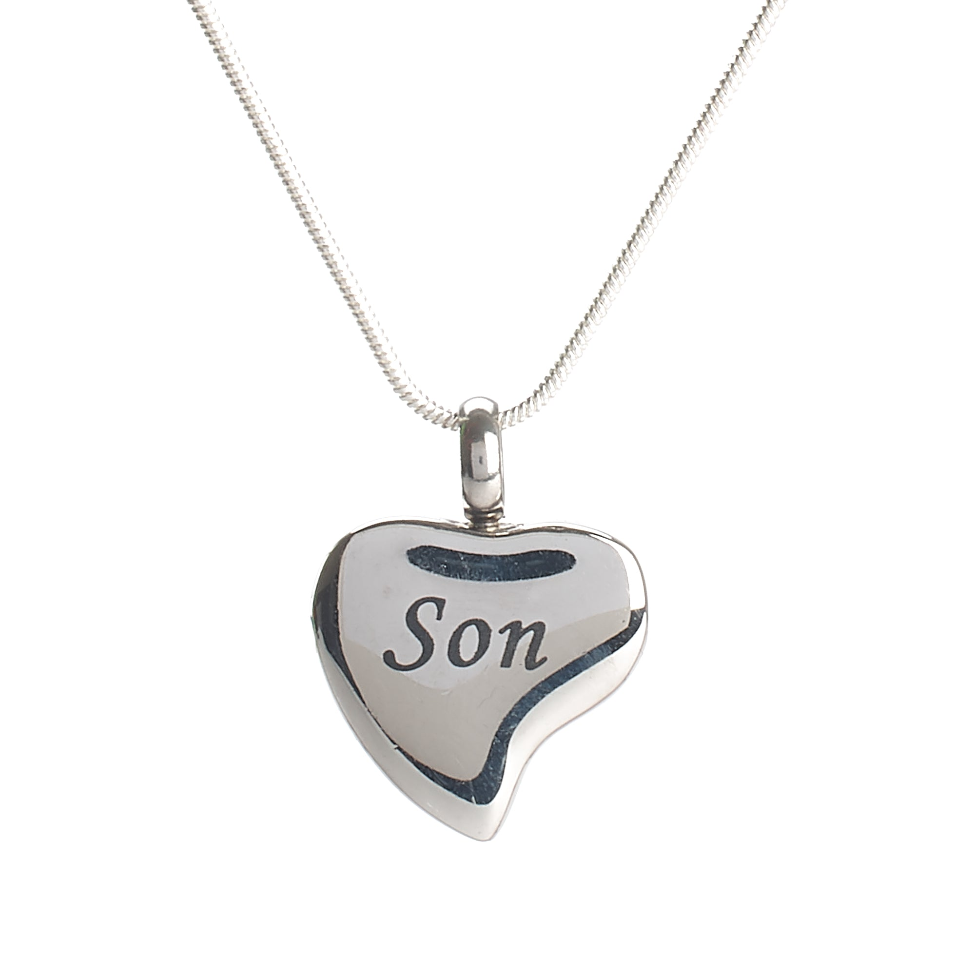 Cremation Pendant - Family - Silver Heart - Son