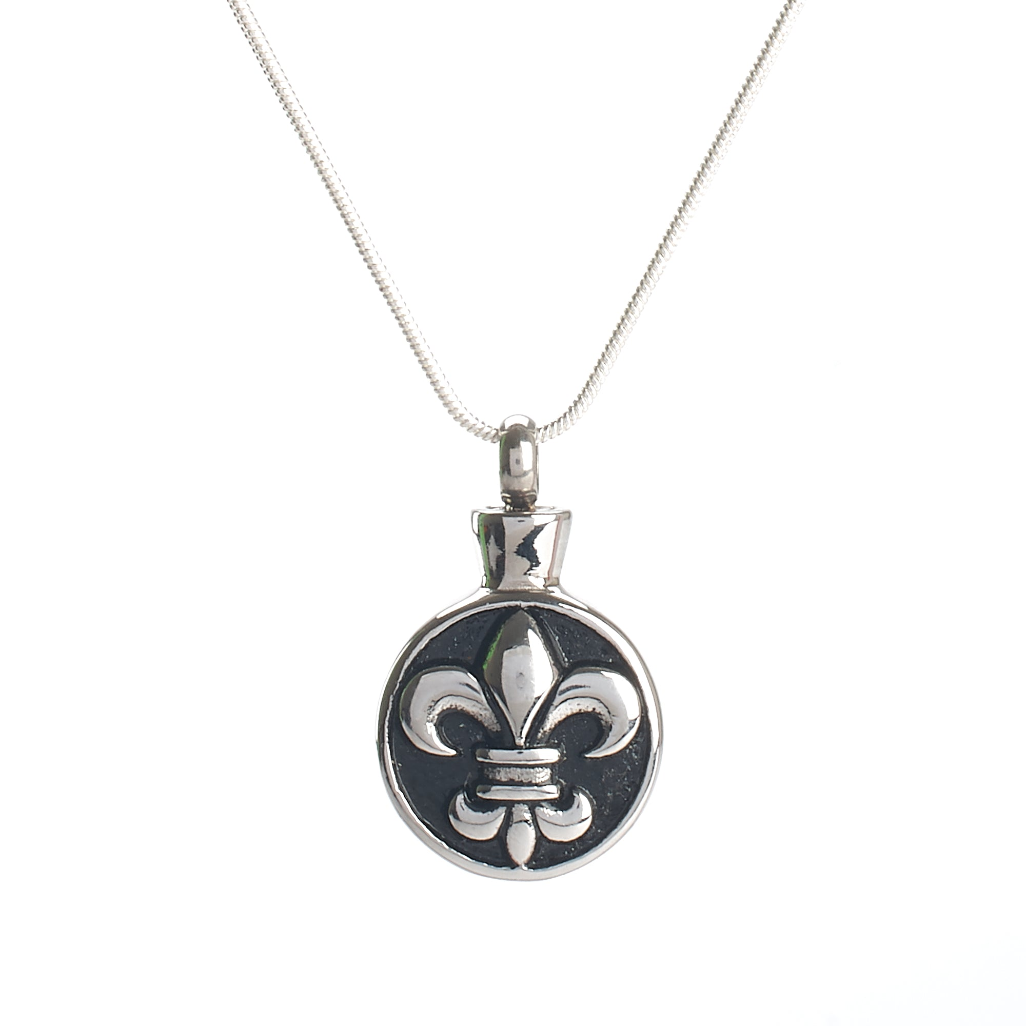 Cremation Pendant - Silver and Black Fleur de lis