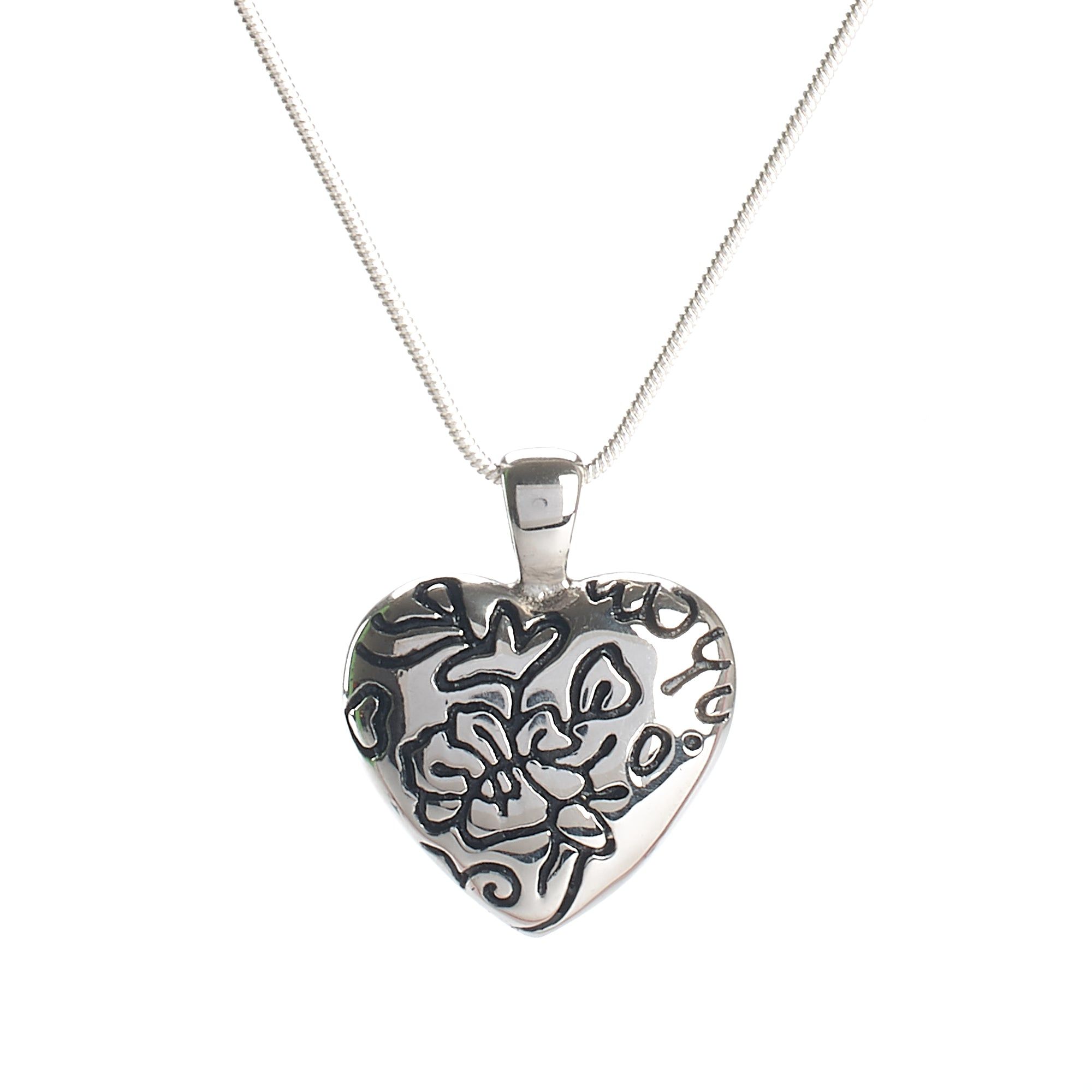 Cremation Pendant - Silver Heart with Black Floral Filigree