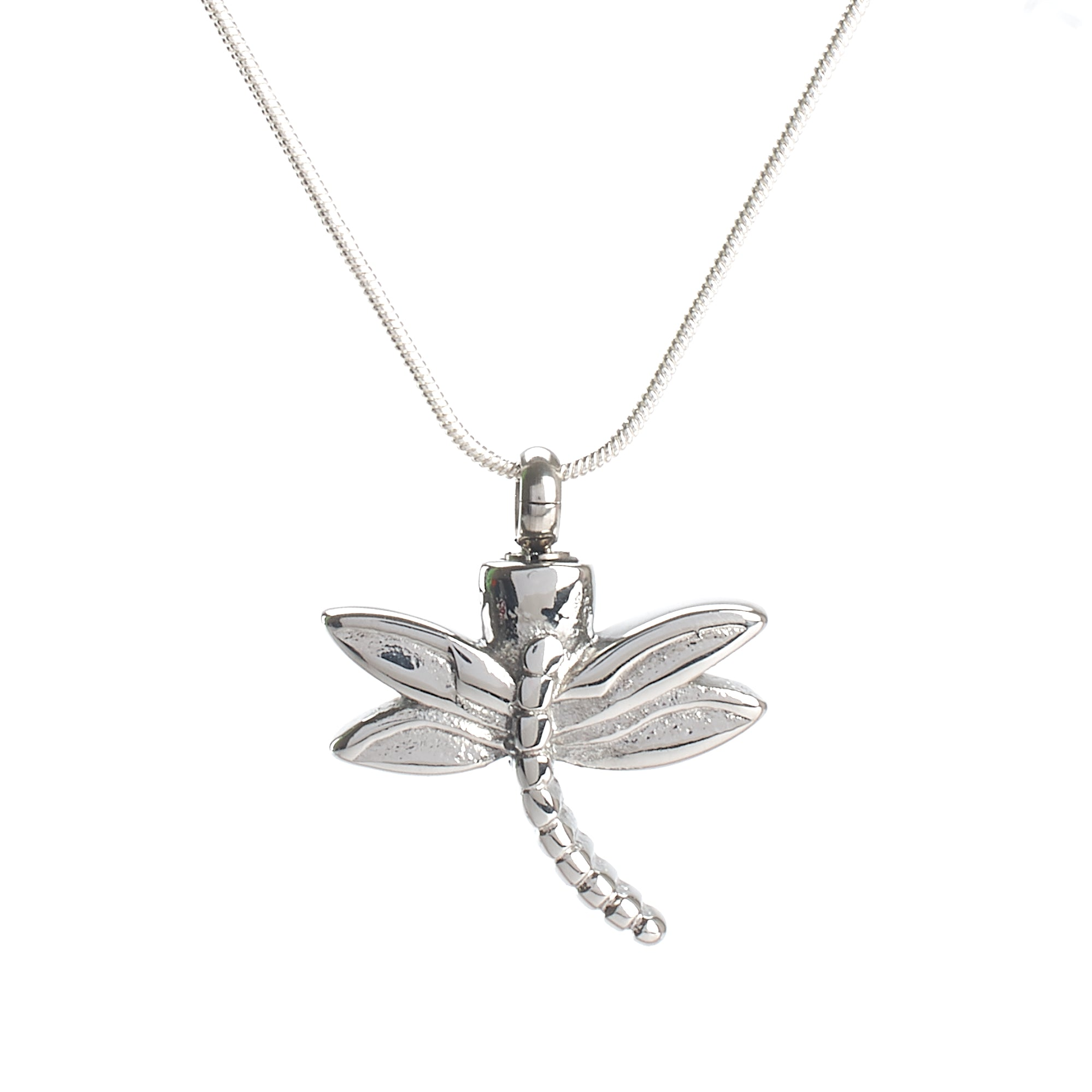 Cremation Pendant - A High Shine Silver Dragonfly