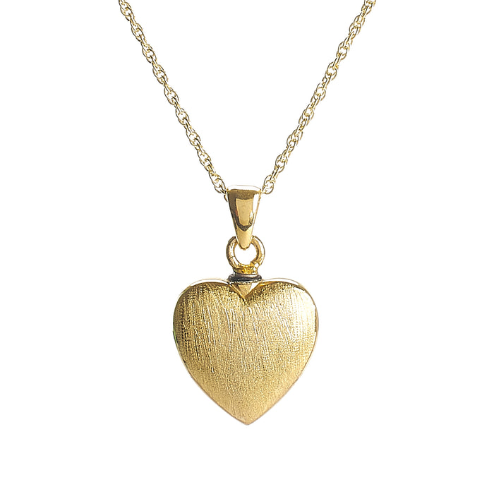 Cremation Pendant - 14K Gold Heart over 925 Sterling Silver