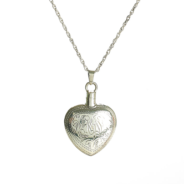 Cremation Pendant - 925 Sterling Silver Engraved Heart