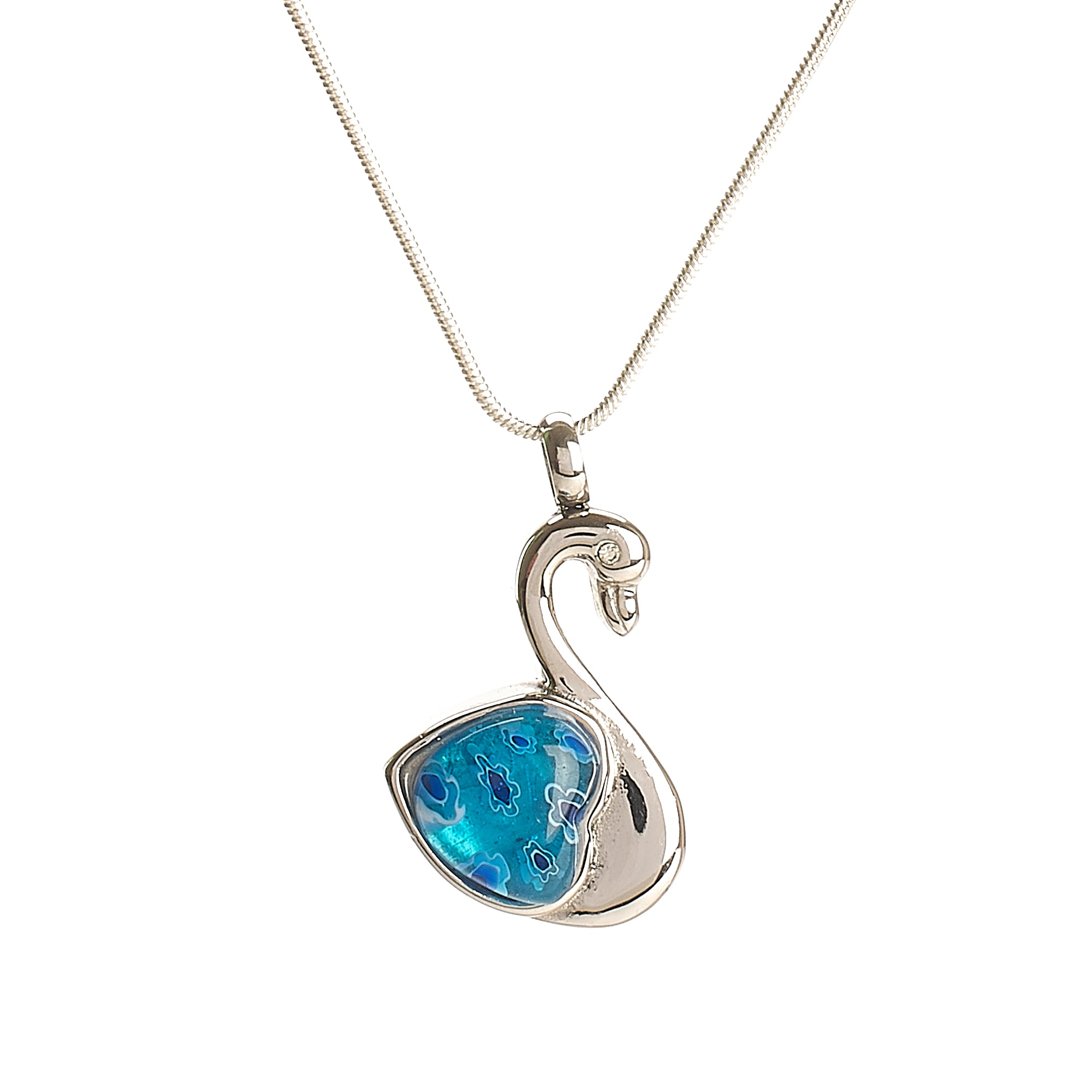 Cremation Pendant - Murano Silver Swan with Blue Heart feature