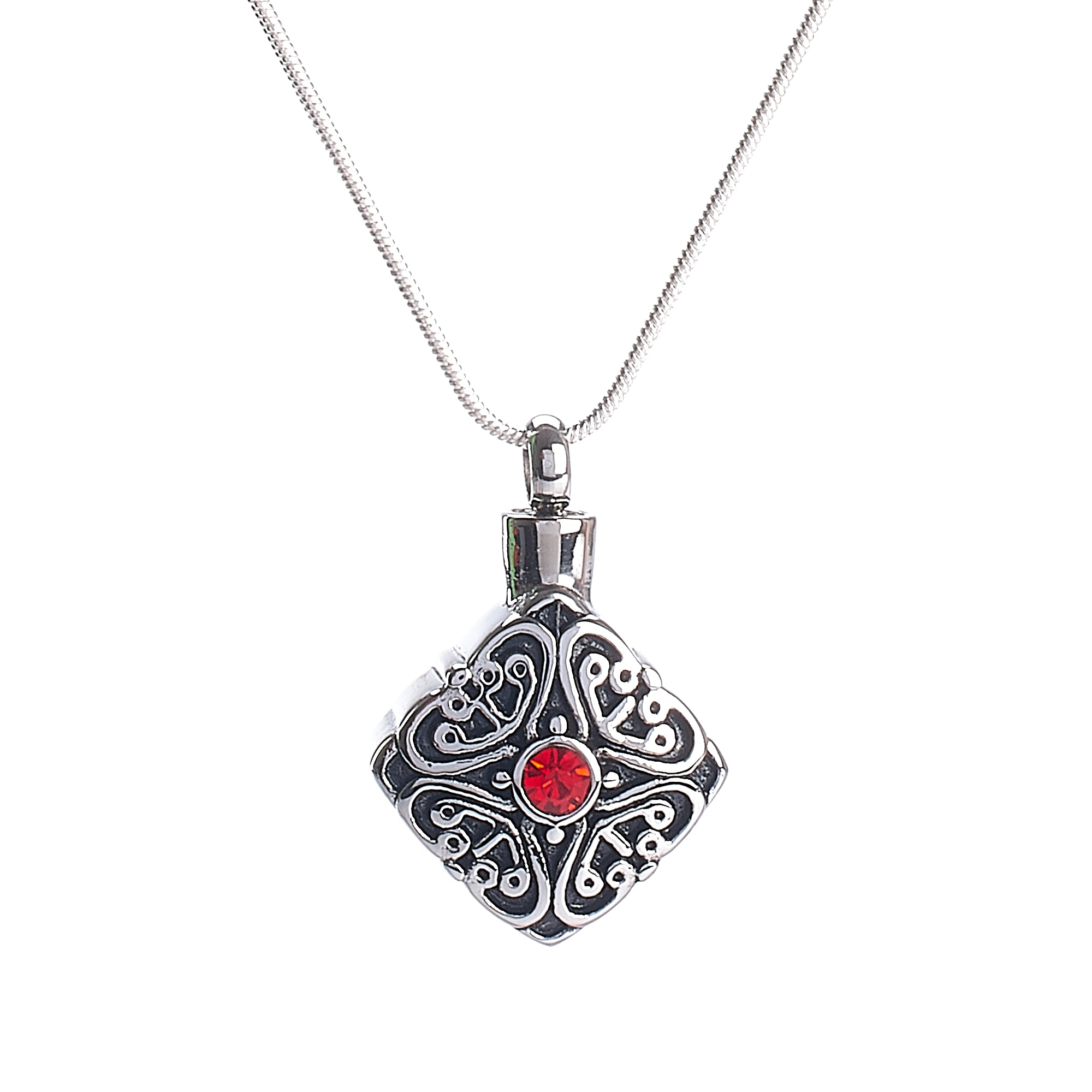 Cremation Pendant - Celtic Diamond Shape Ruby Diamante