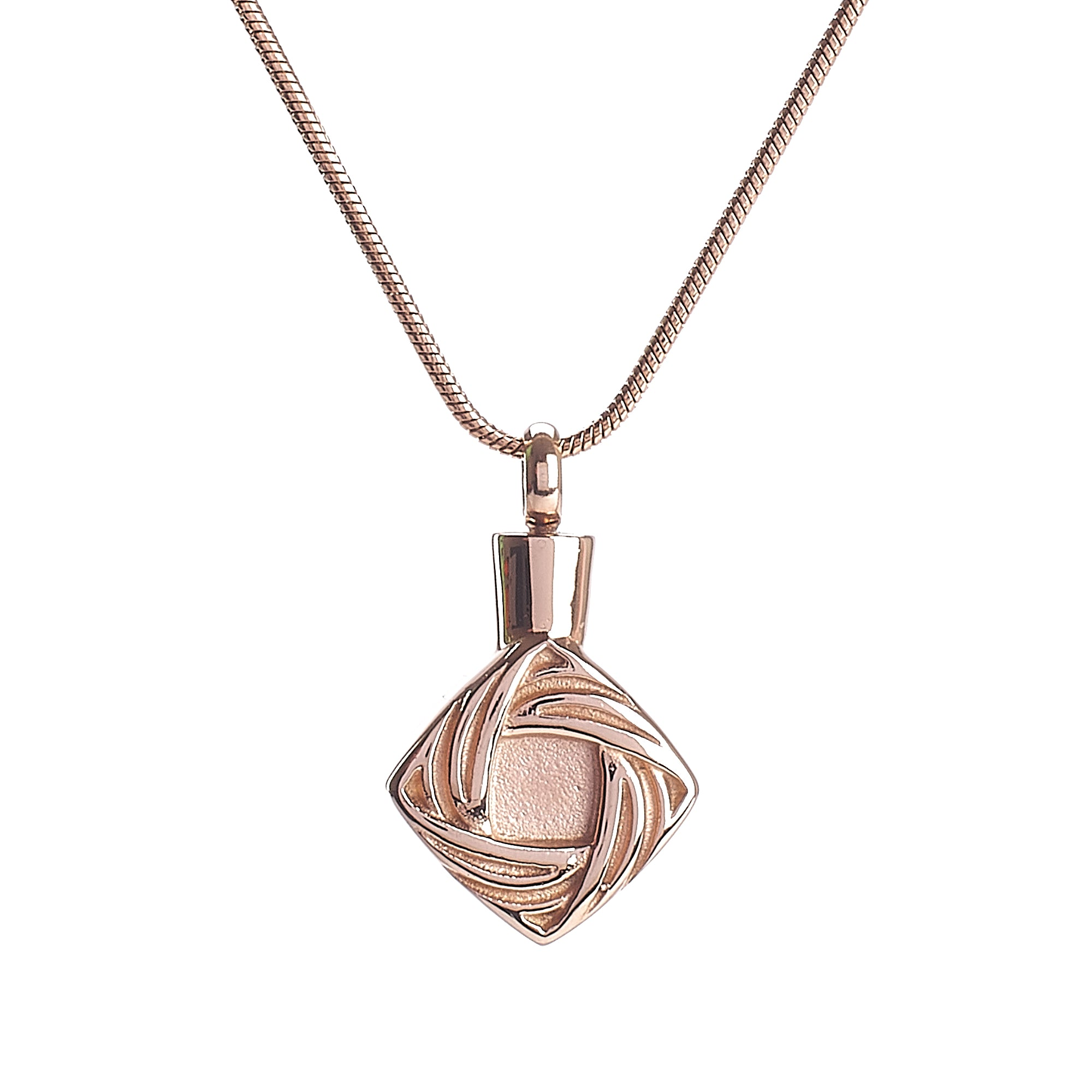 Cremation Pendant - Rose Gold Diamond Elegant Shape