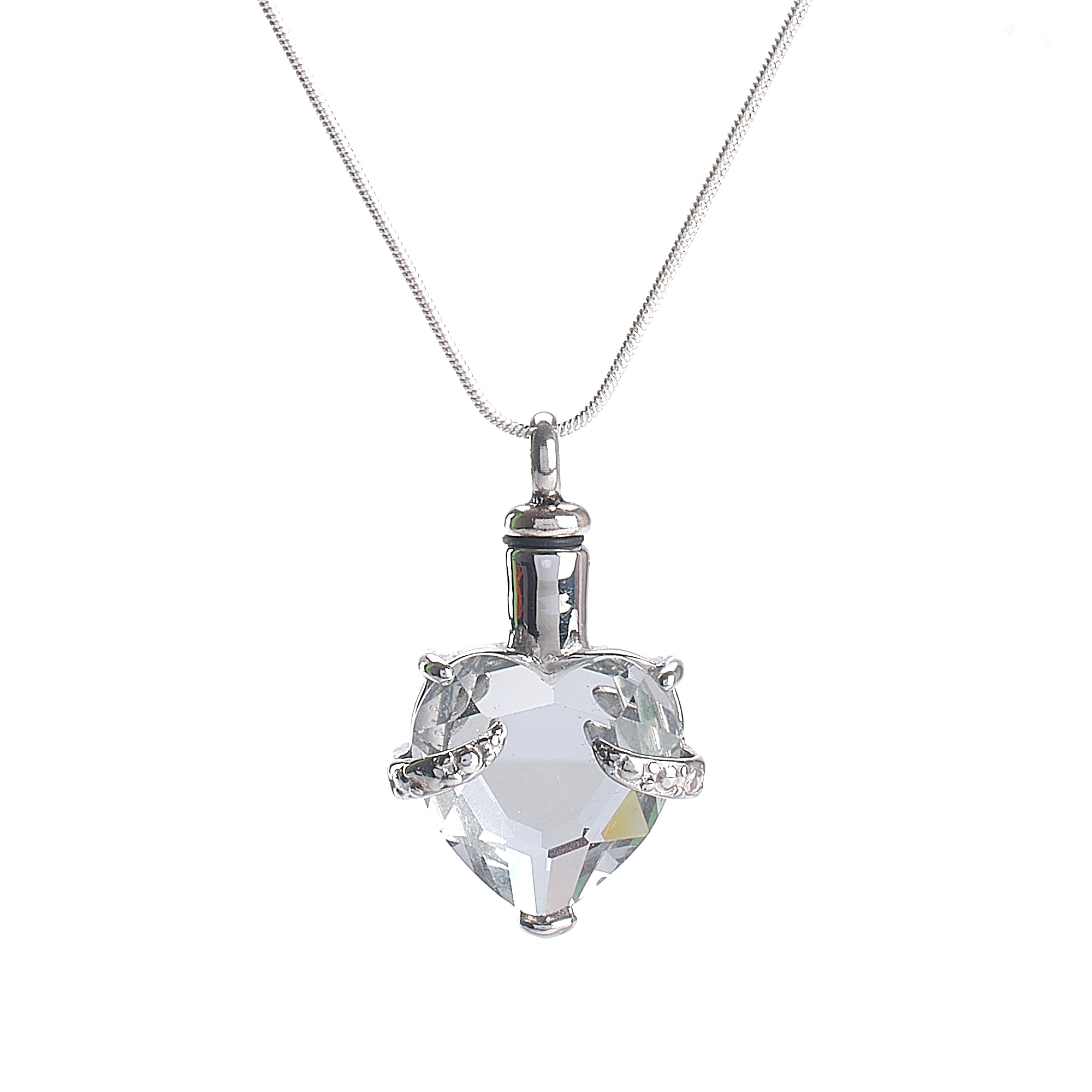 Cremation Pendant - Glass Heart - Clear