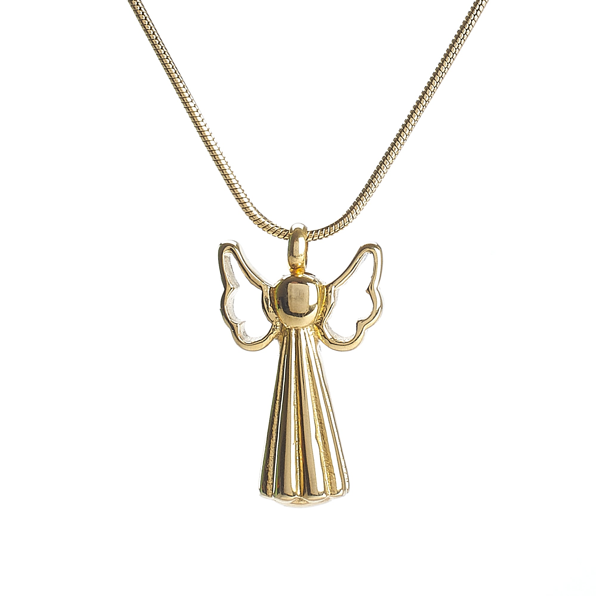 Cremation Pendant - Large Gold Angel