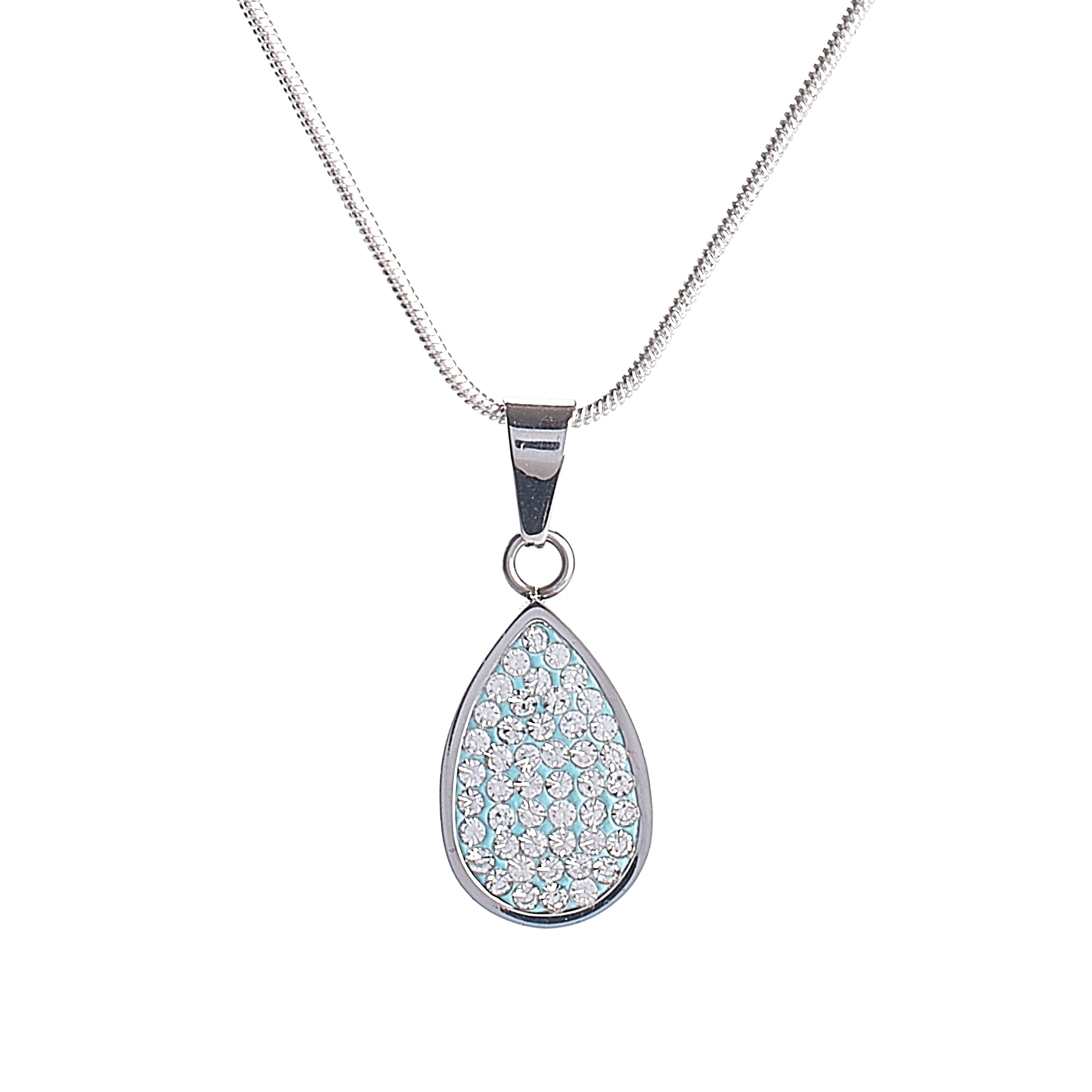 Cremation Pendant - Light Blue with Diamante Teardrop