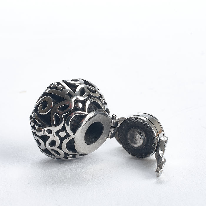 Cremation Pendant - Chinese Money Bag Silver Filigree