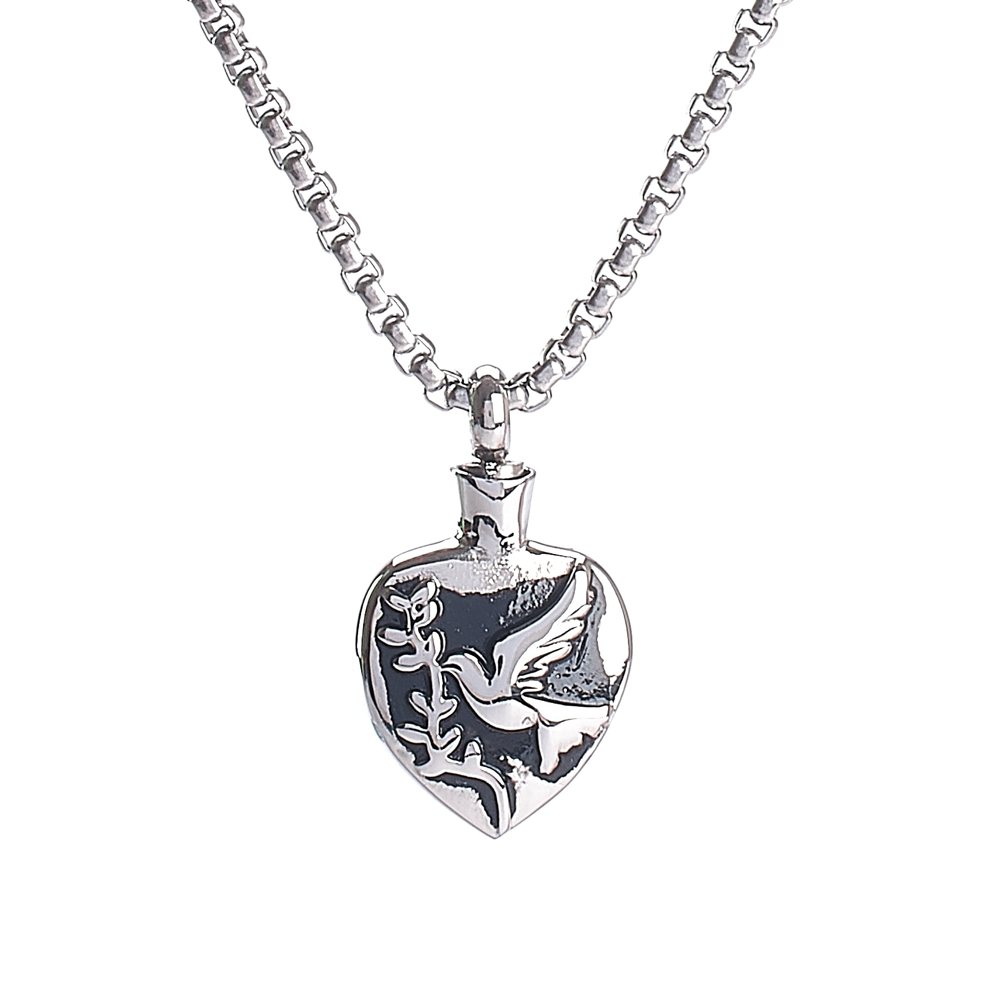 Cremation Pendant - Faith - Olive Branch Dove Silver/Black