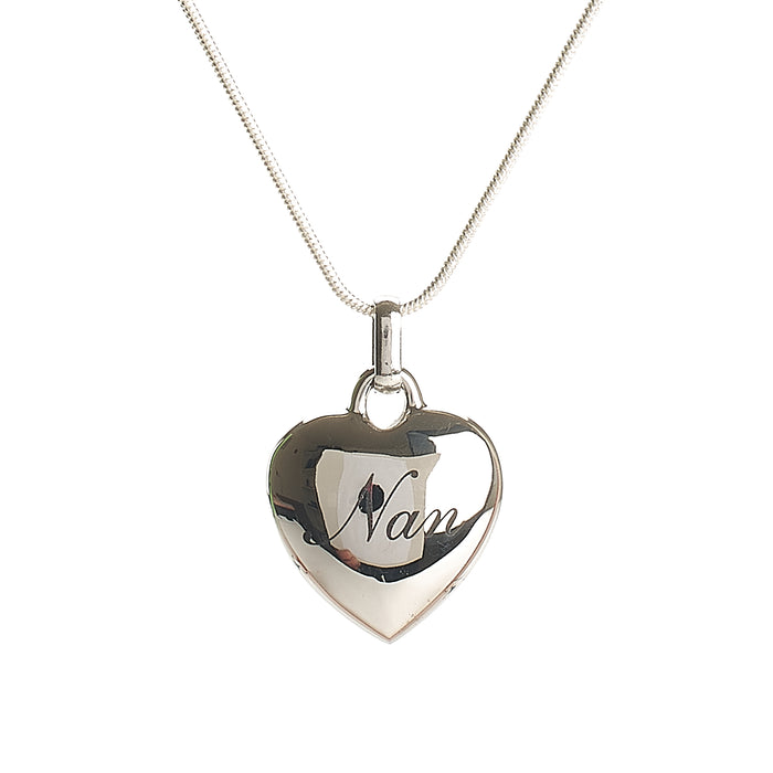 Cremation Pendant - Family - Nan Scripted in Silver Heart