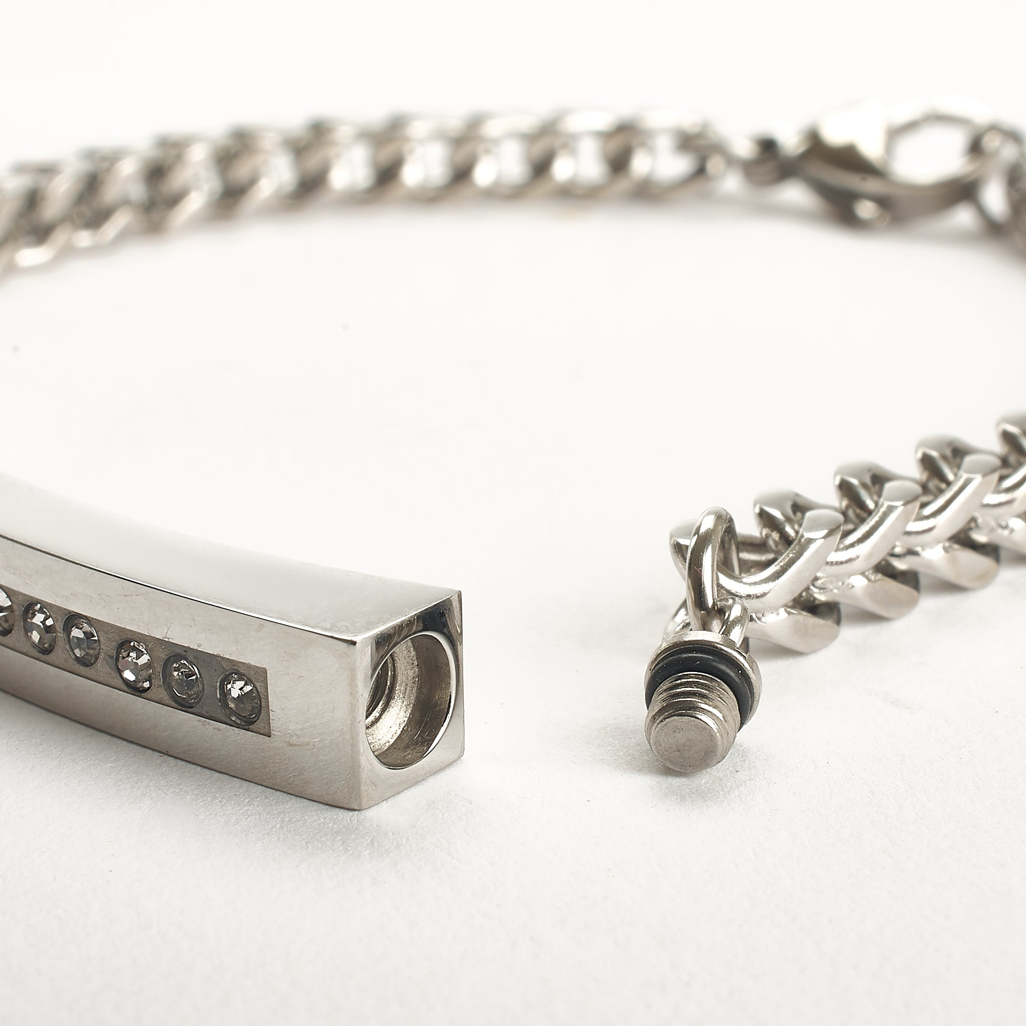 Cremation Bracelet - Silver Unisex Bracelet with Diamante