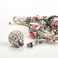 Cremation Bracelet - Fushia and Silver Charm with Disco Ball