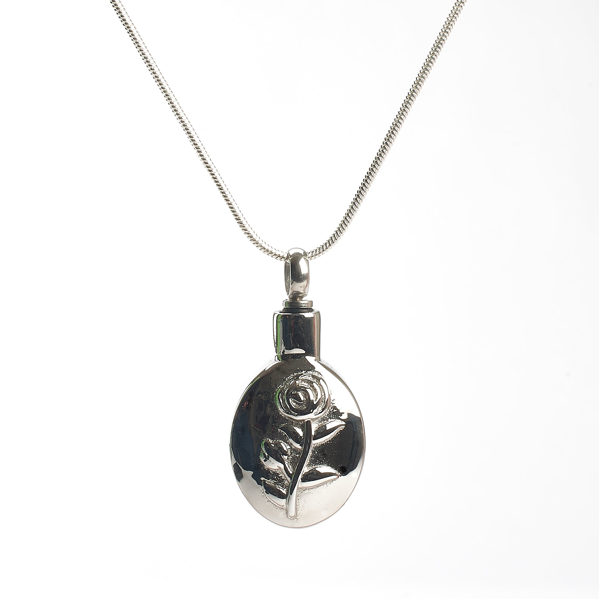 Cremation Pendant - Oval with Rose Etching