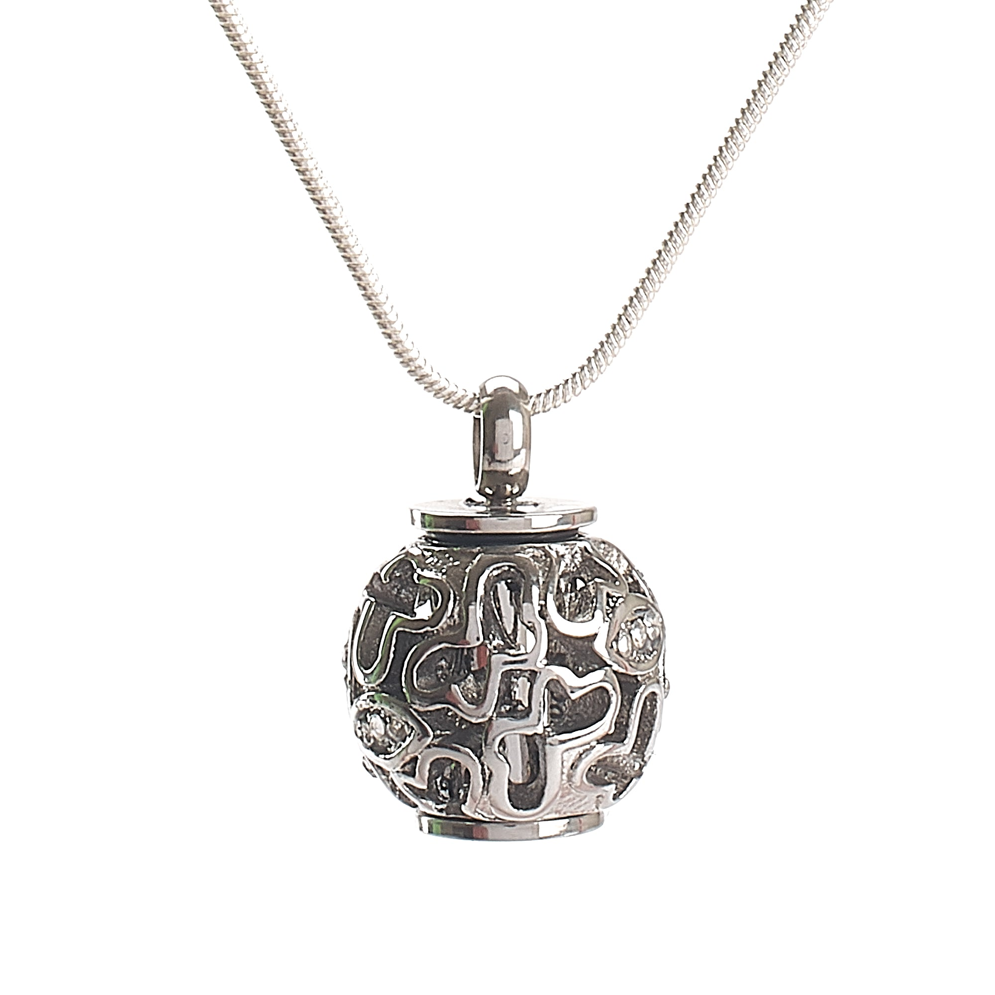 Cremation Pendant - Filigree Chime Ball - silver
