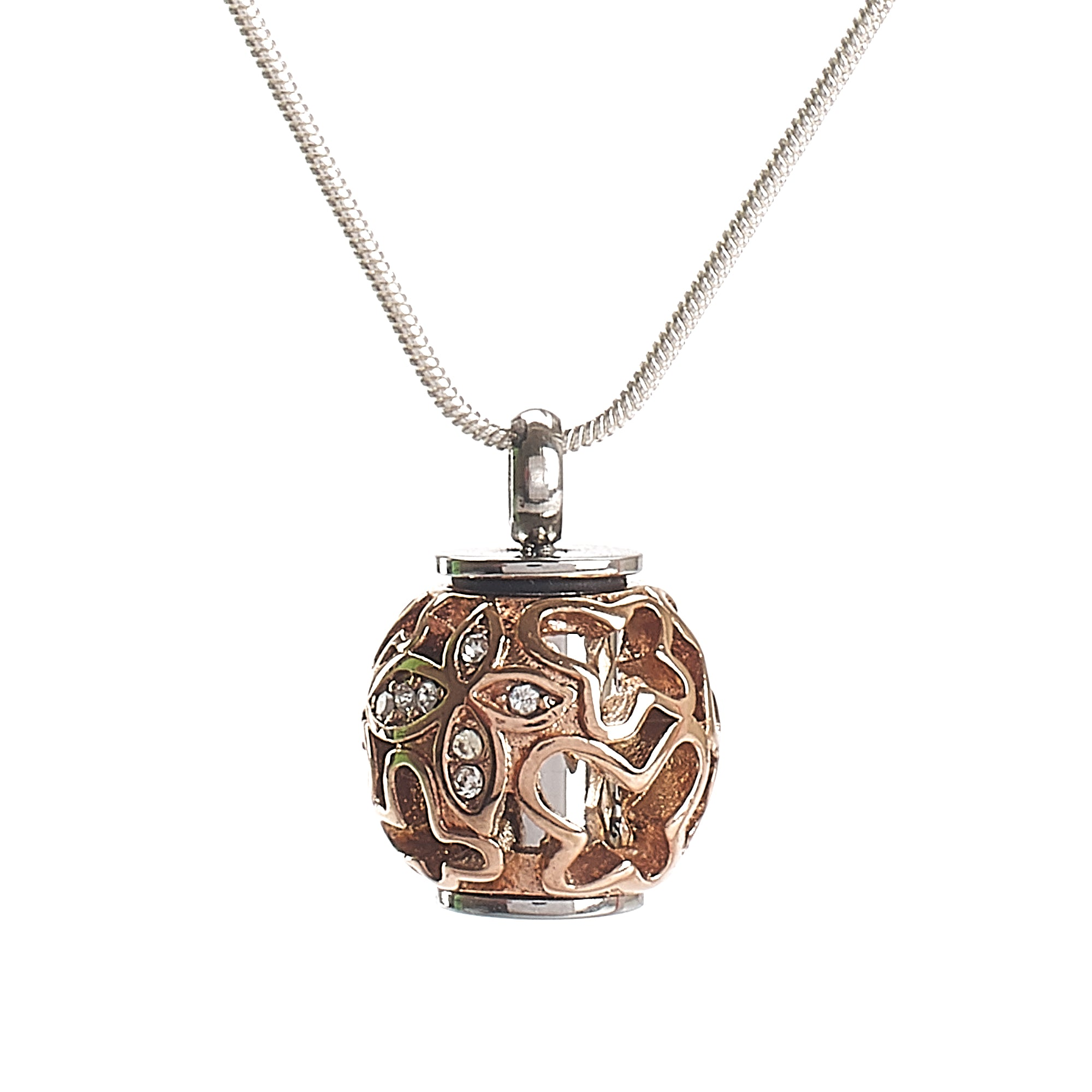 Cremation Pendant - Filigree Chime Ball - Rose Gold