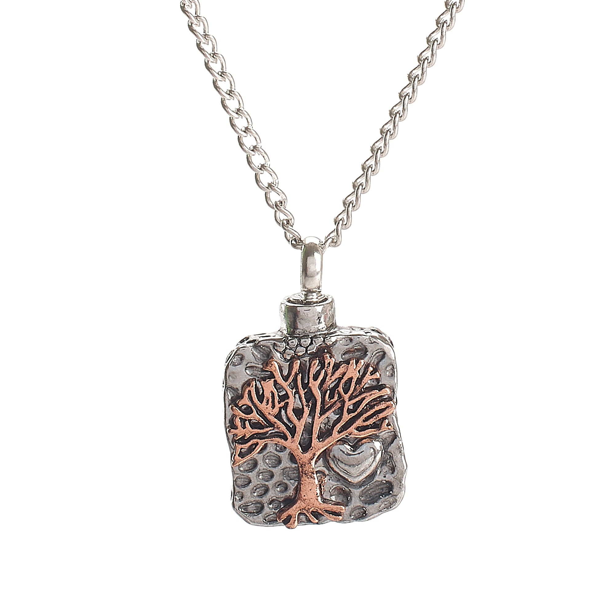 Cremation Pendant - Tree of Life Rose Gold on Silver