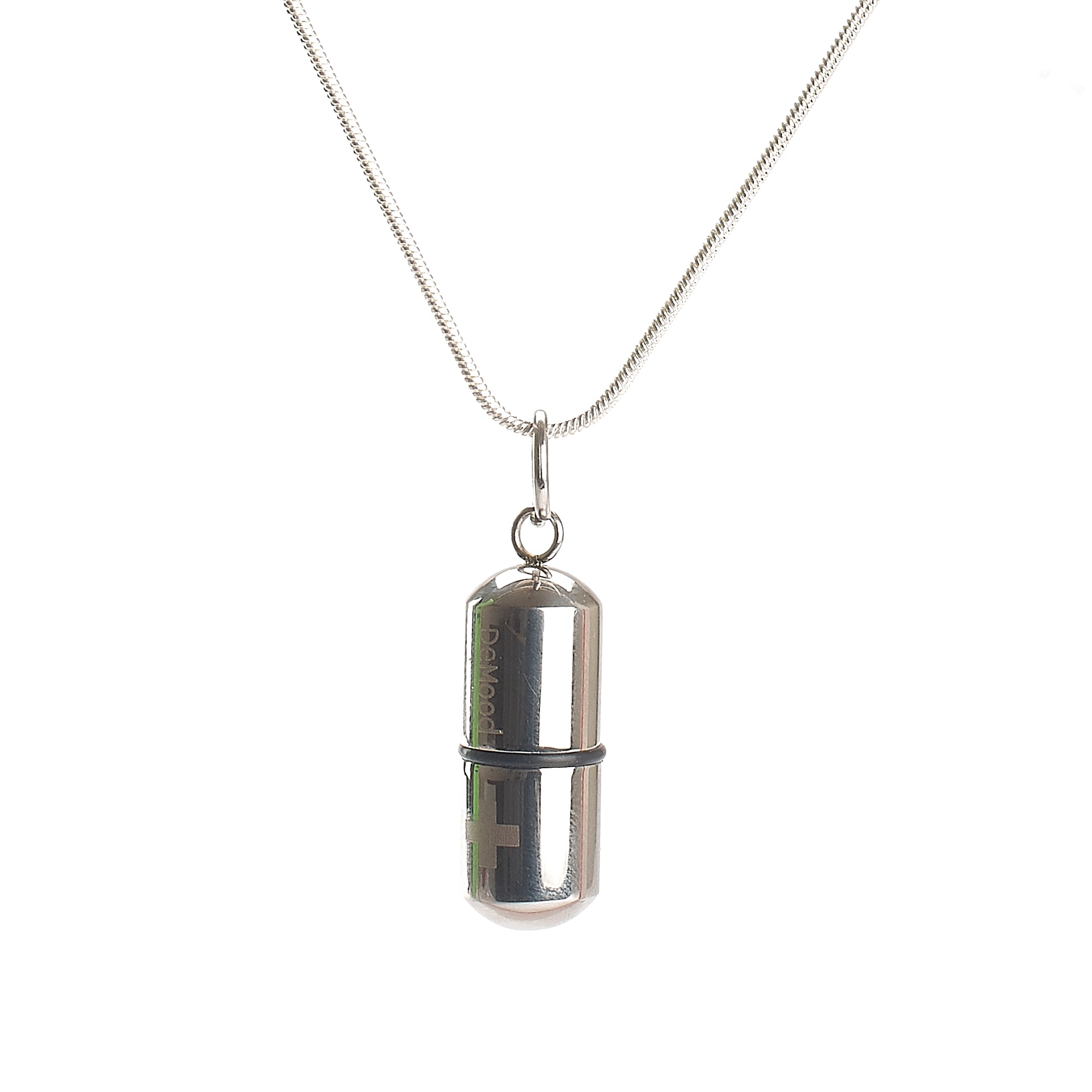 Cremation Pendant - Small Silver Capsule - Black