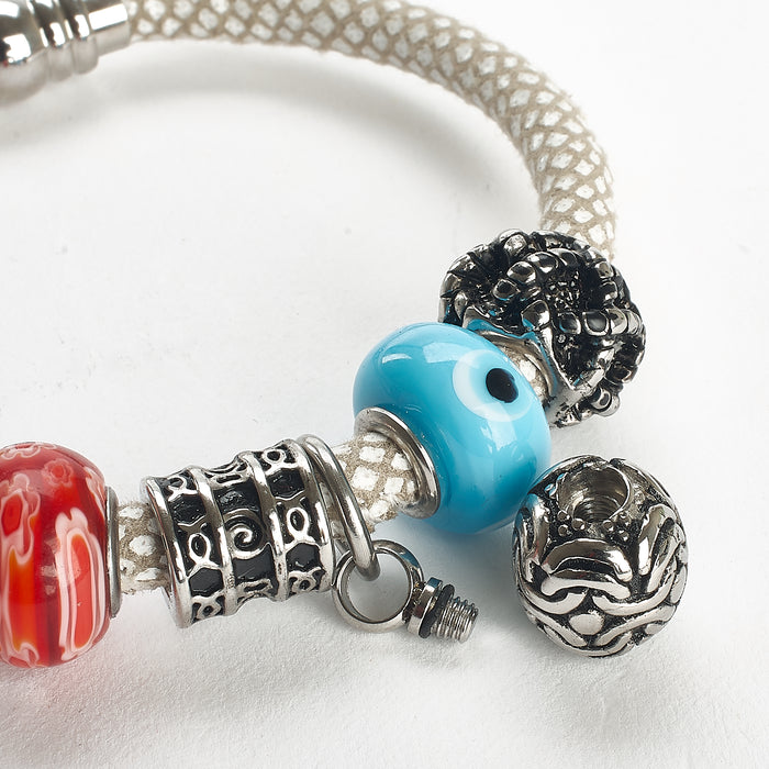 Cremation Bracelet - Silver, Blue and Coral on White