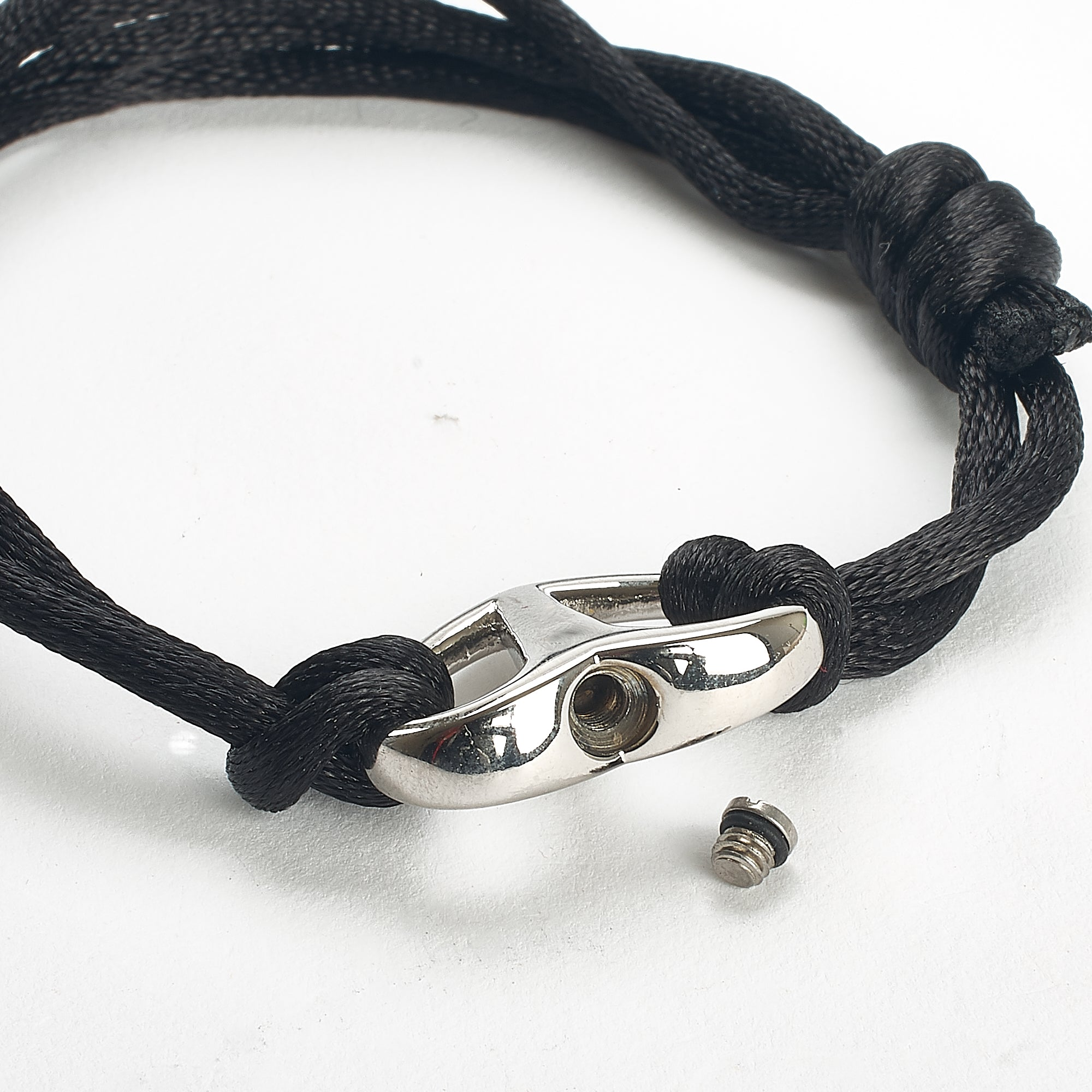 Cremation Bracelet - Adjustable Black Cord - Unisex