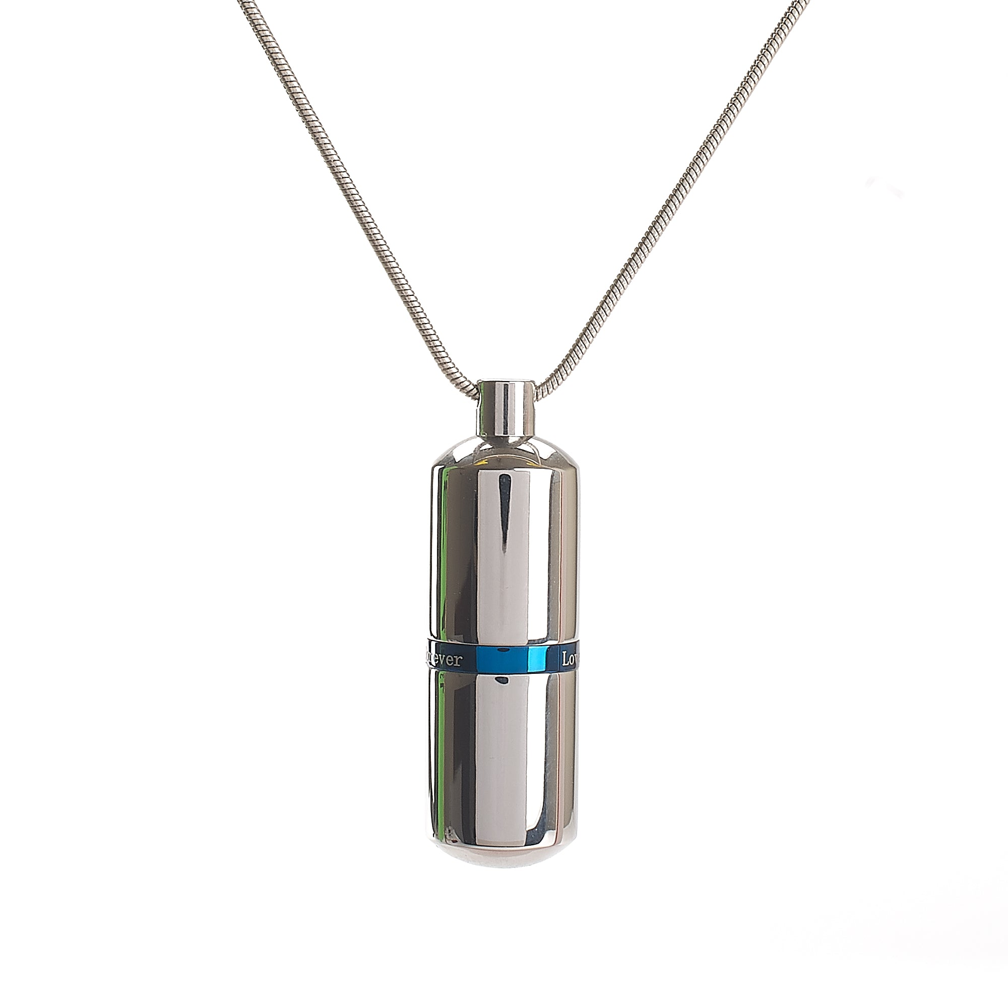 Cremation Pendant - Silver High Shine Capsule - Blue
