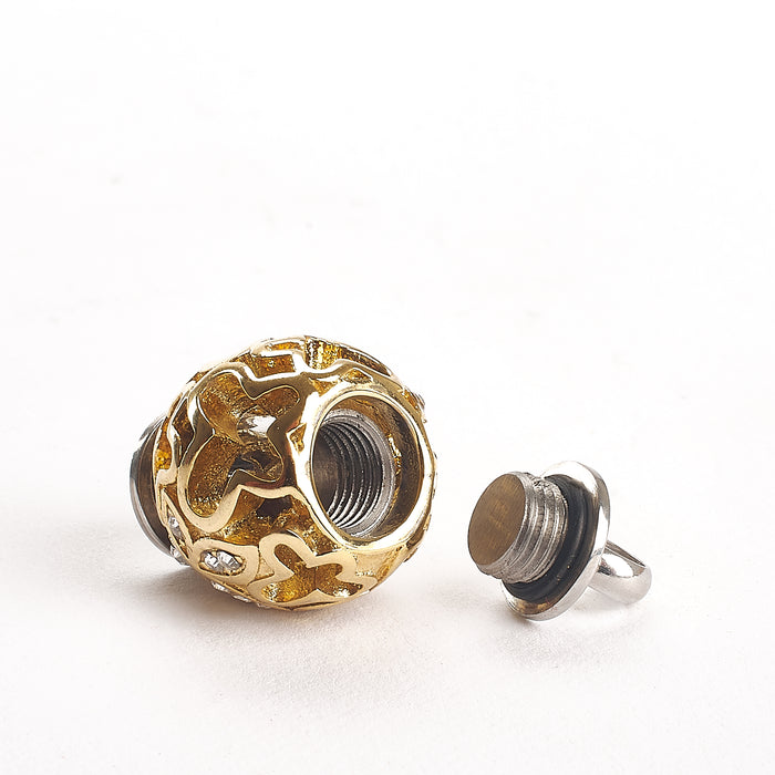 Cremation Pendant - Filigree Chime Ball - Gold