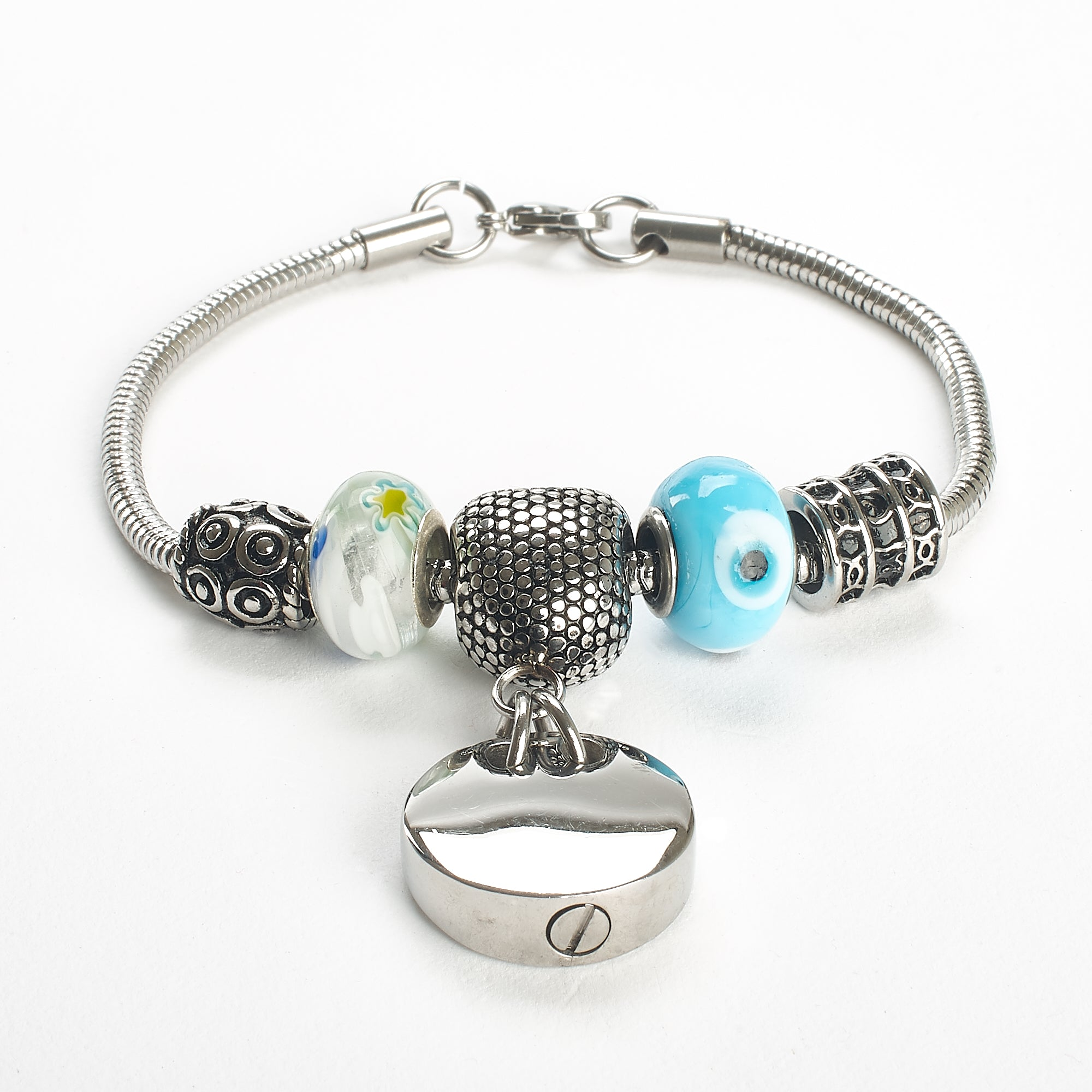Cremation Bracelet - Silver and Stone Charms