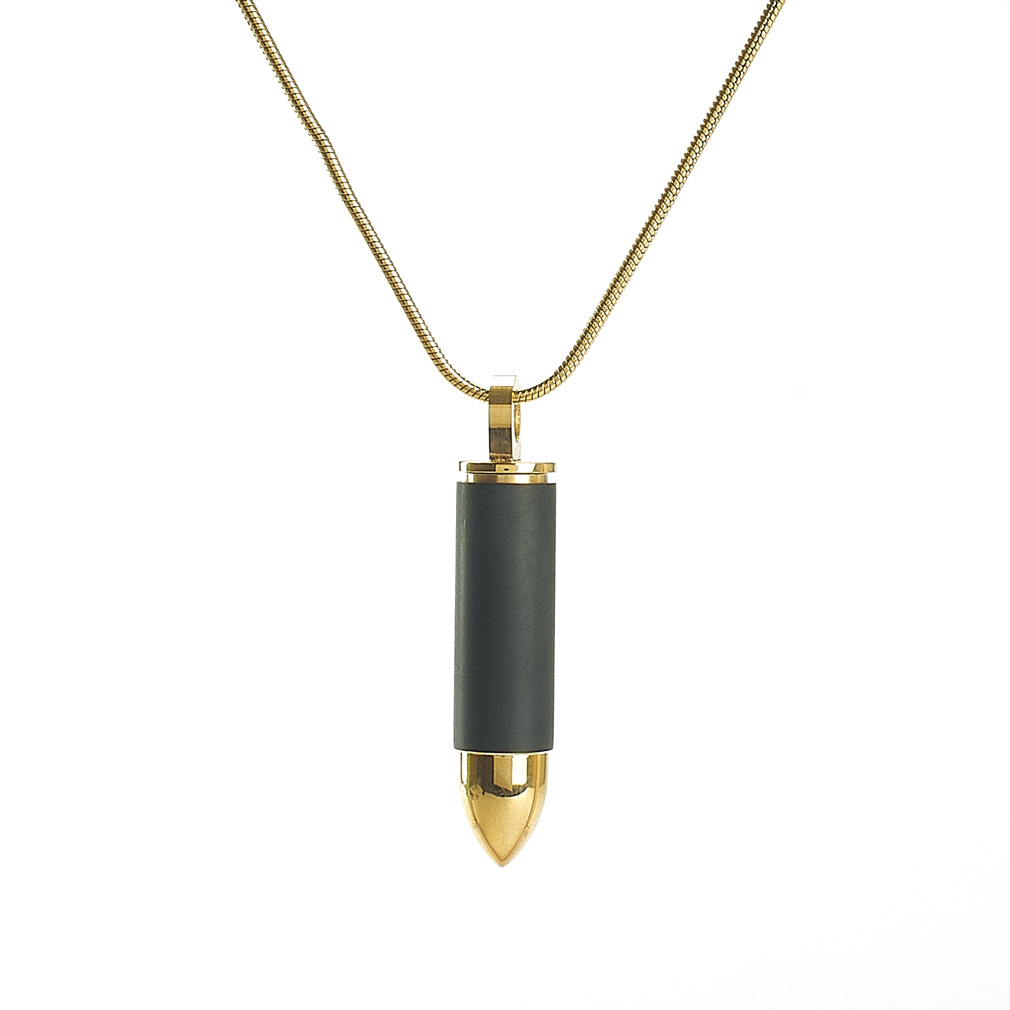 Cremation Pendant - Bullet - Black and Gold - Premium