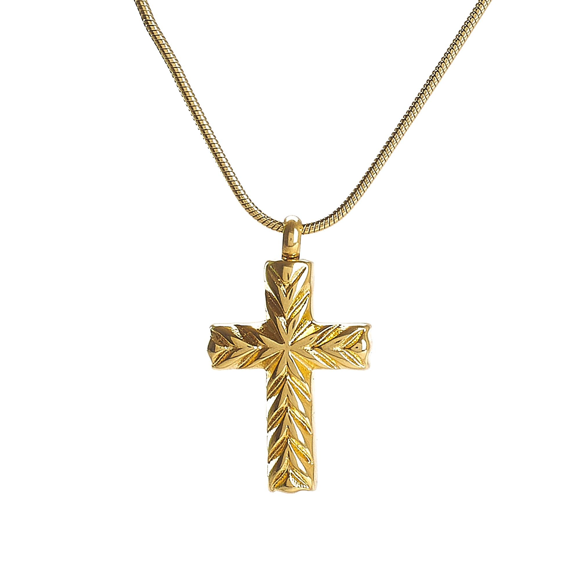 Cremation Pendant - Faith - Gold Cross