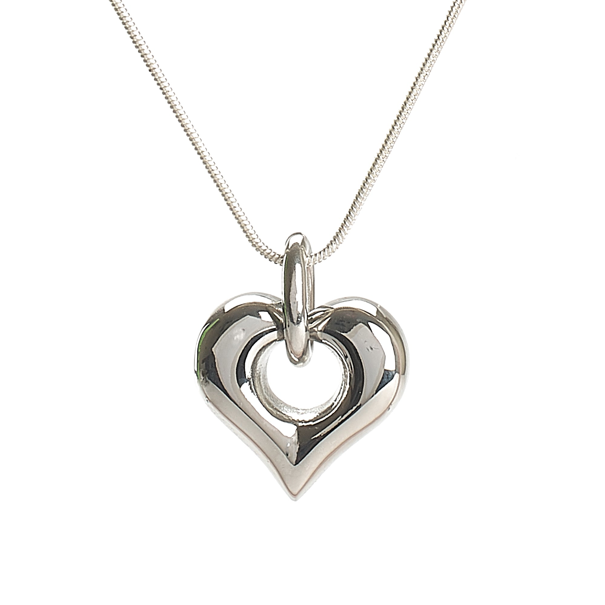 Cremation Pendant - Silver High Shine Heart