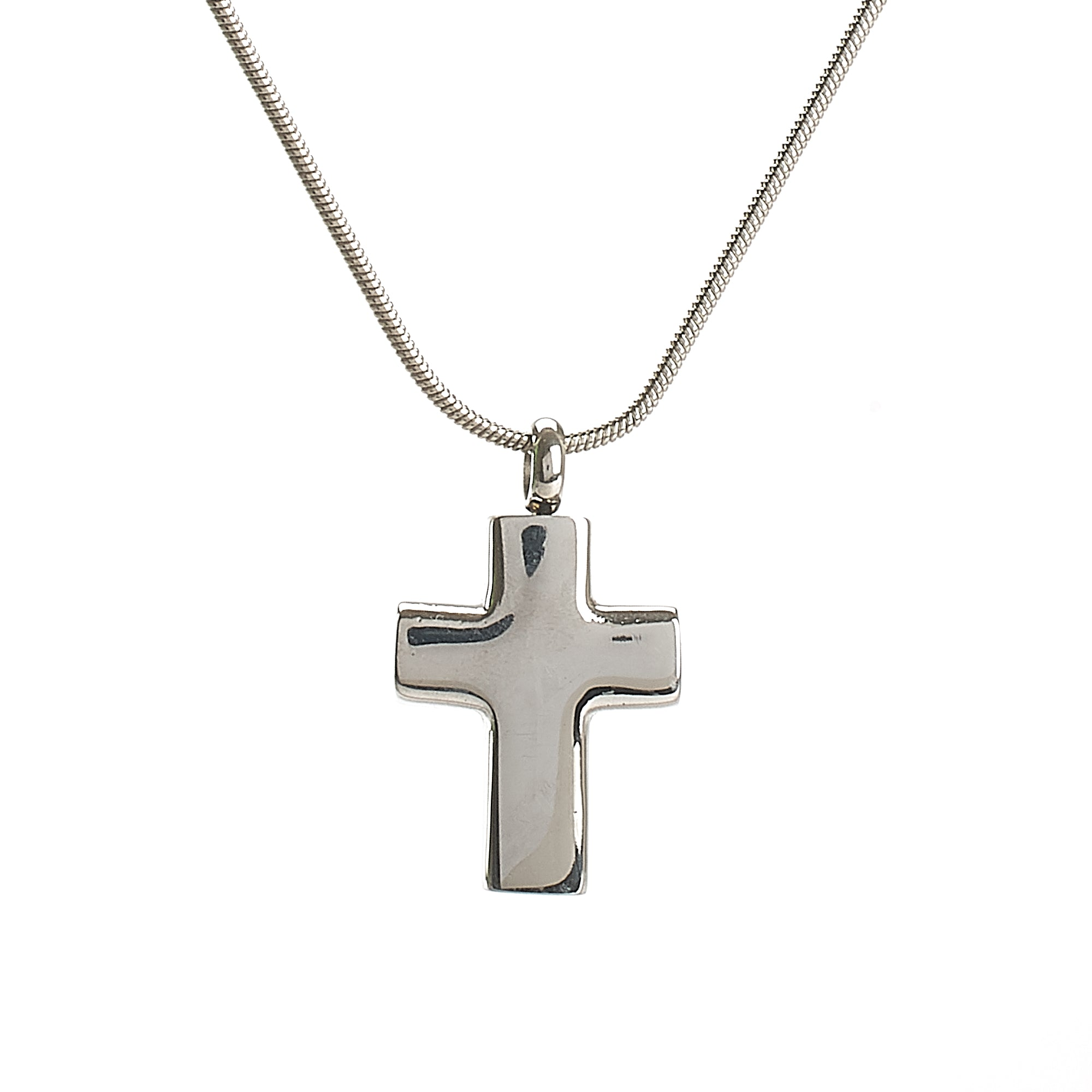 Cremation Pendant - Faith - High Shine Silver Cross