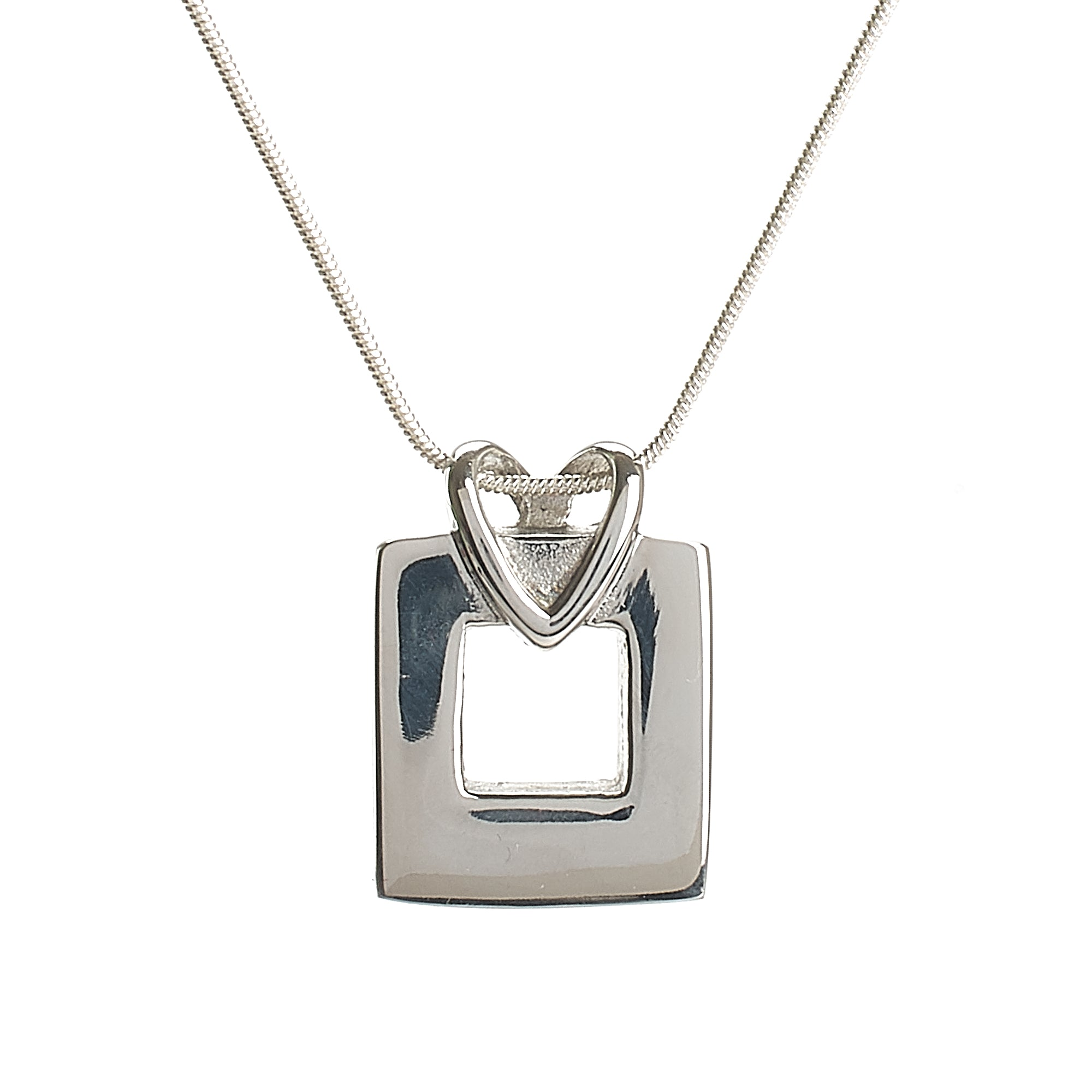 Cremation Pendant - Square with Heart