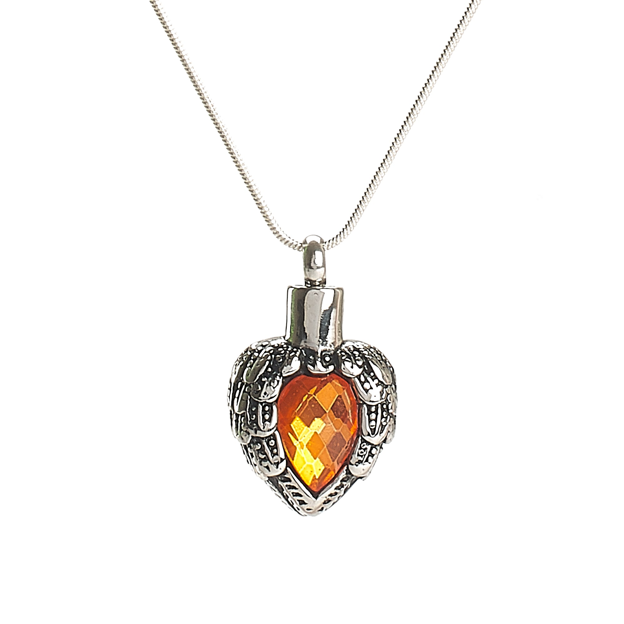 Cremation Pendant - Chariot Angel Wings - Orange/Silver