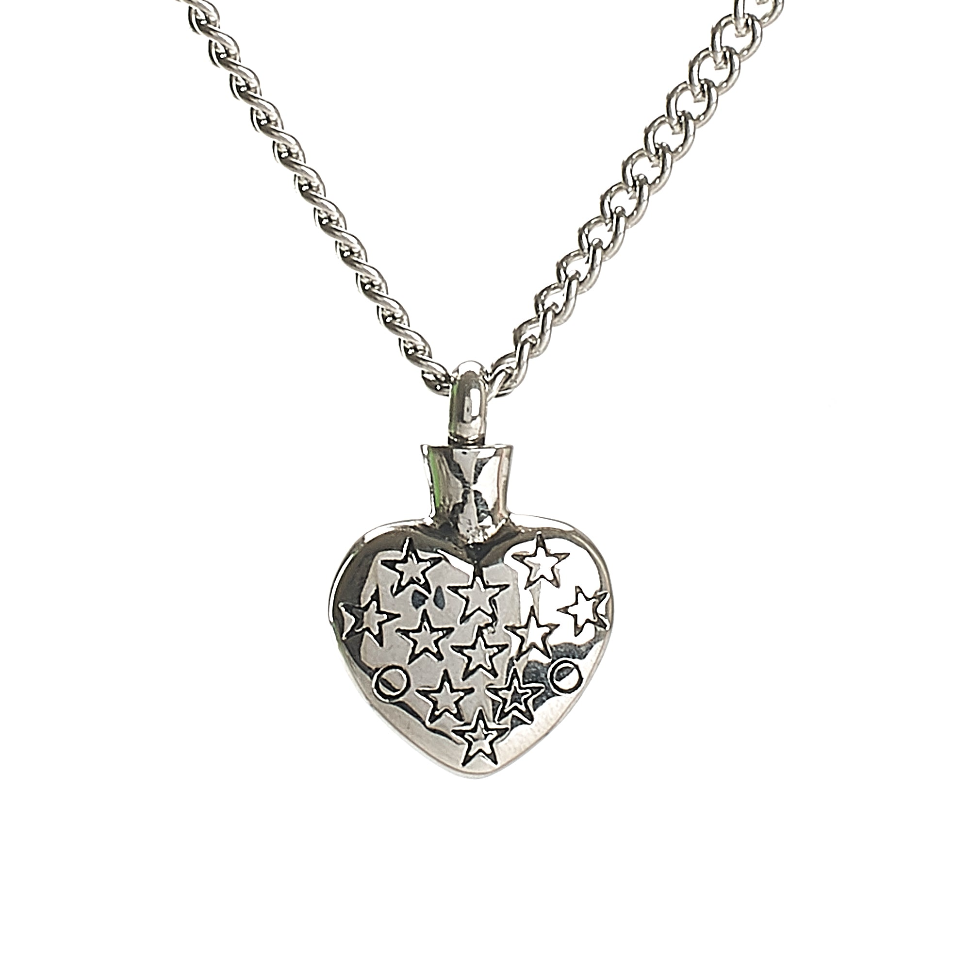 Cremation Pendant - Stars within a Heart - Silver