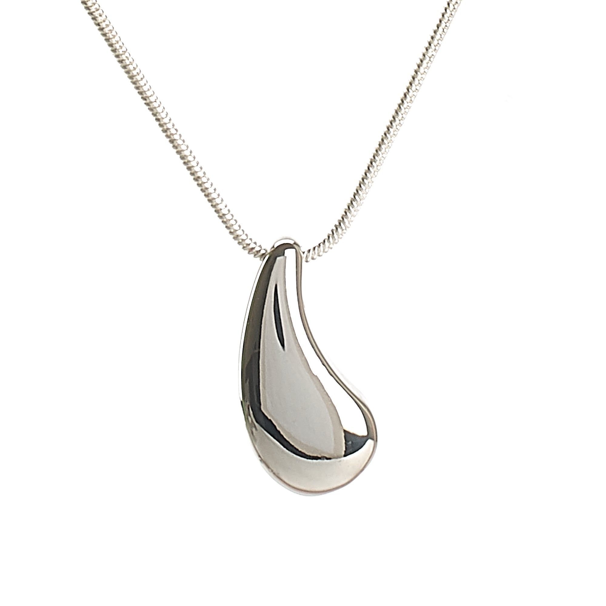Cremation Pendant - Silver Teardrop - High Shine