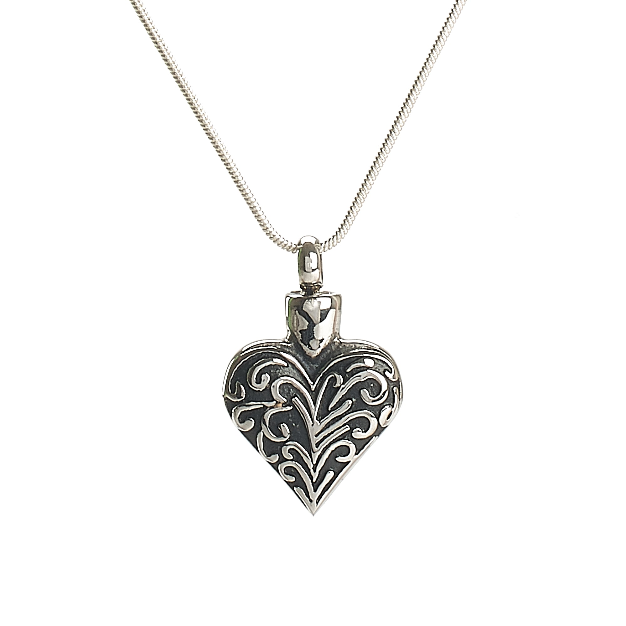 Cremation Pendant - Silver Heart with Filigree
