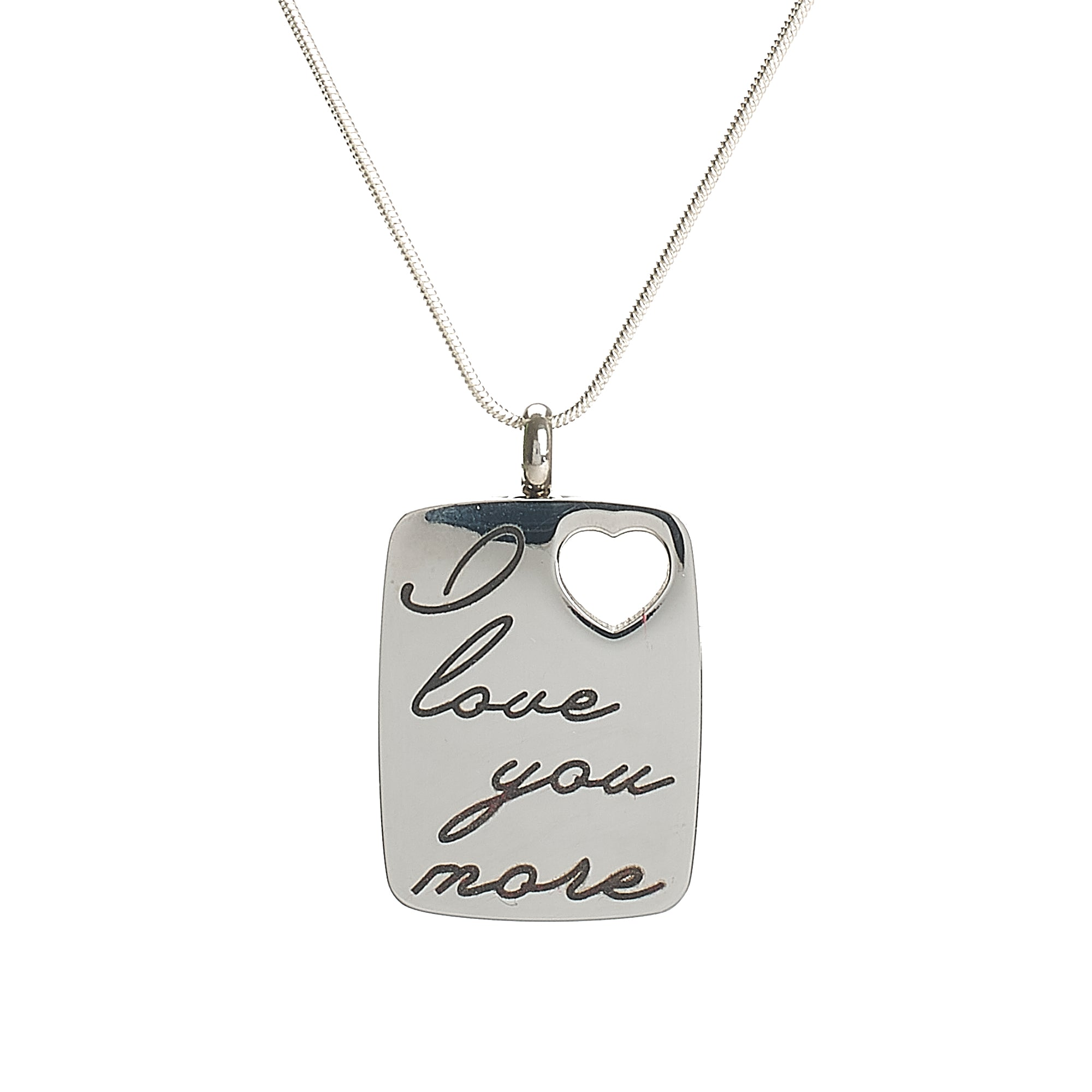 "Cremation Pendant - Silver Rectangle - ""I Love You More"""