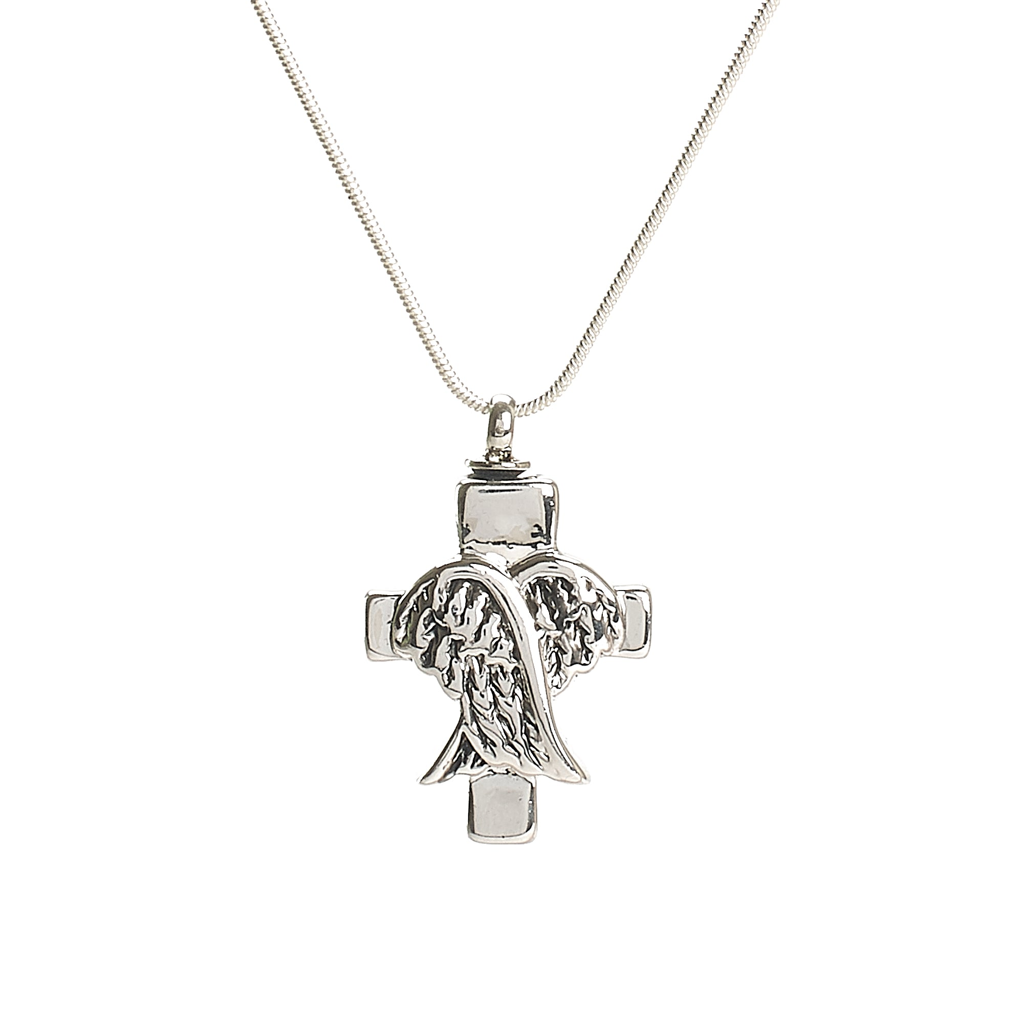 Cremation Pendant - Angel Wings over Cross - Silver