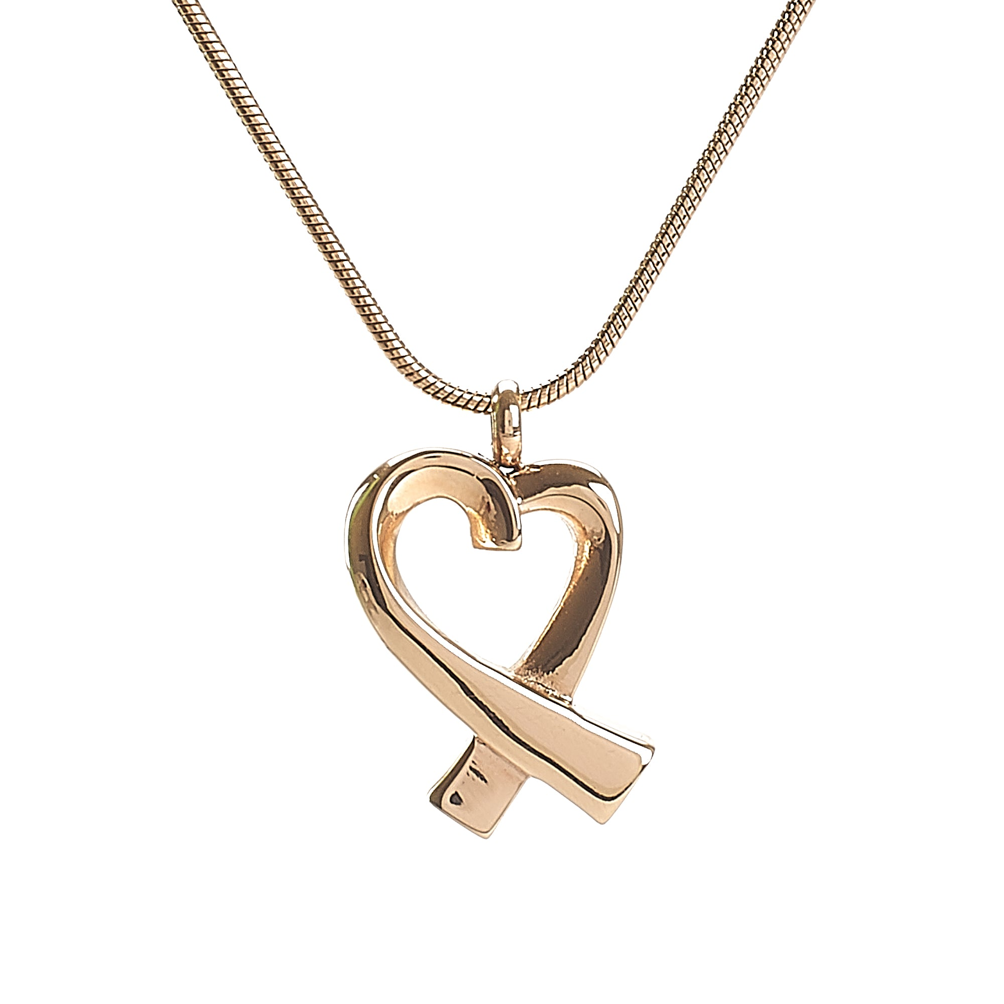 Cremation Pendant - Overlapping Heart - Rose Gold
