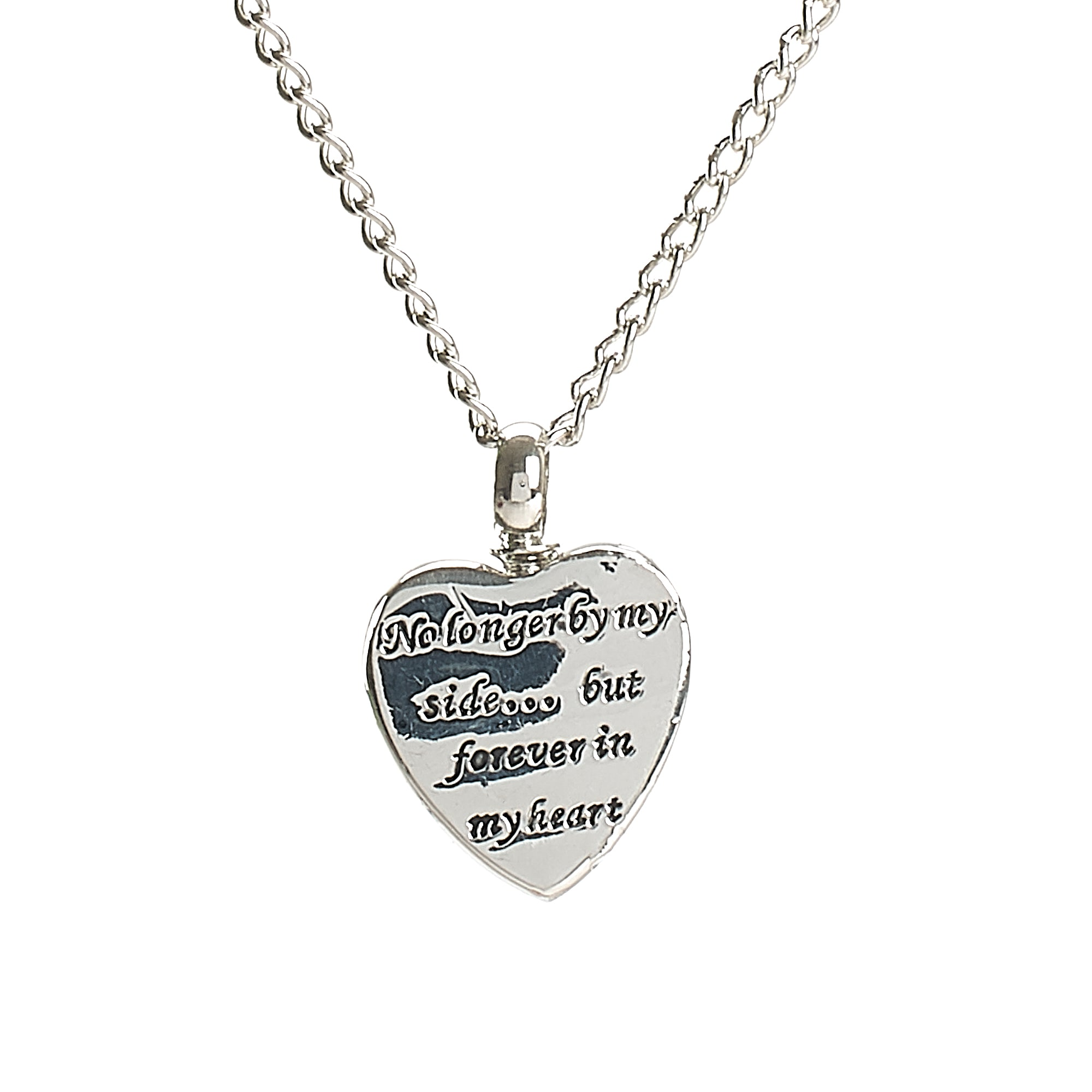 "Cremation Pendant - Silver Heart ""No Longer by my Side, Forever in my Heart"""